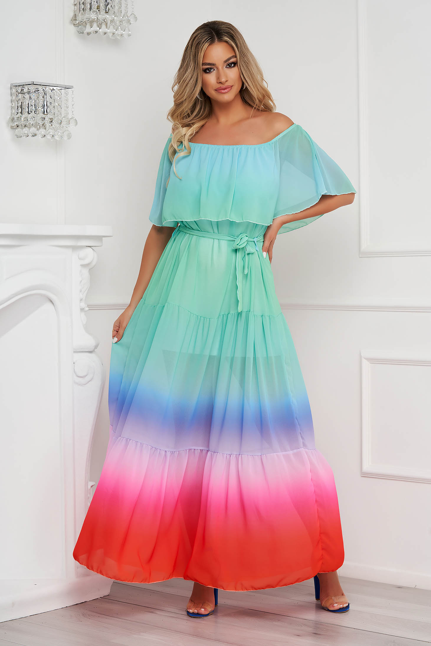 Dress long from veil fabric loose fit naked shoulders accessorized with tied waistband