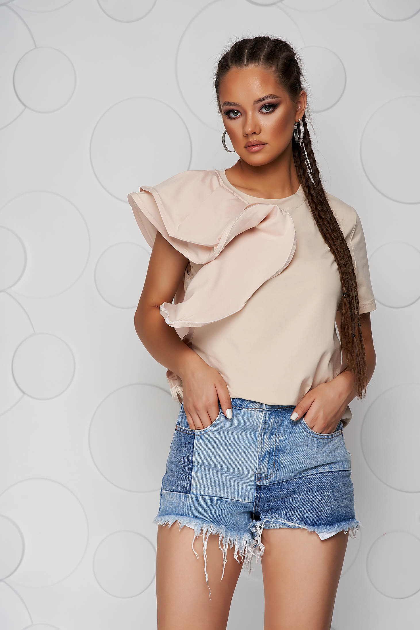 Cream women`s blouse slightly elastic cotton with ruffle details loose fit