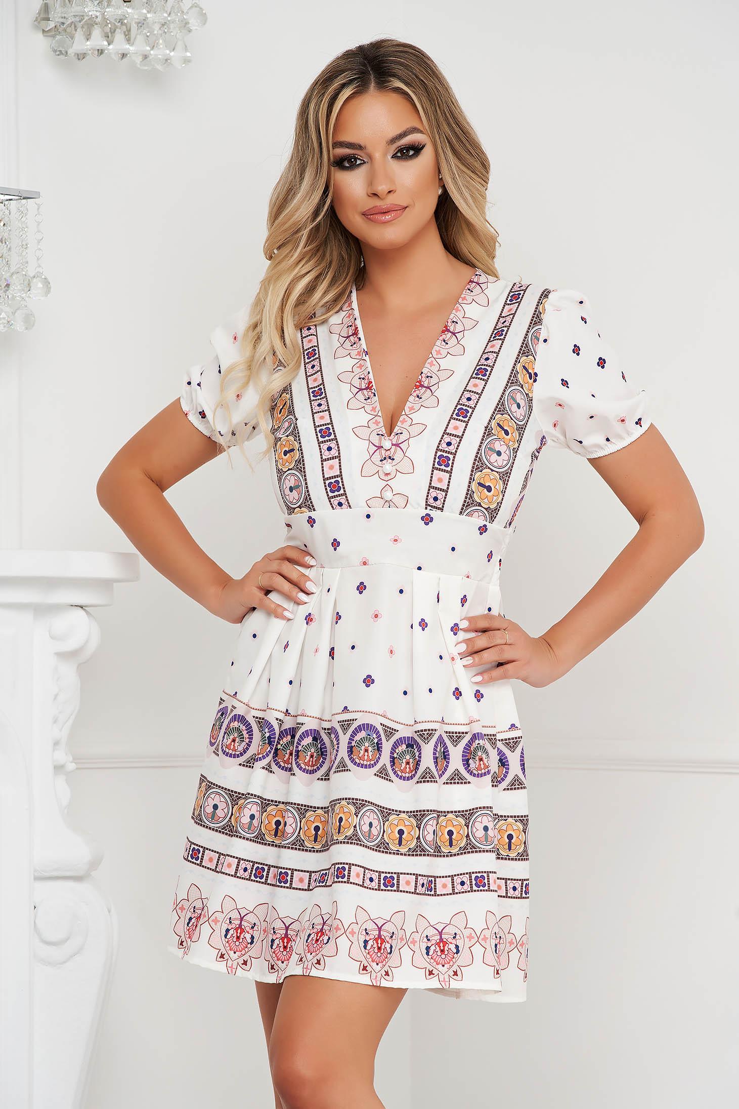 Dress short cut cloche with elastic waist short sleeves elastic held sleeves