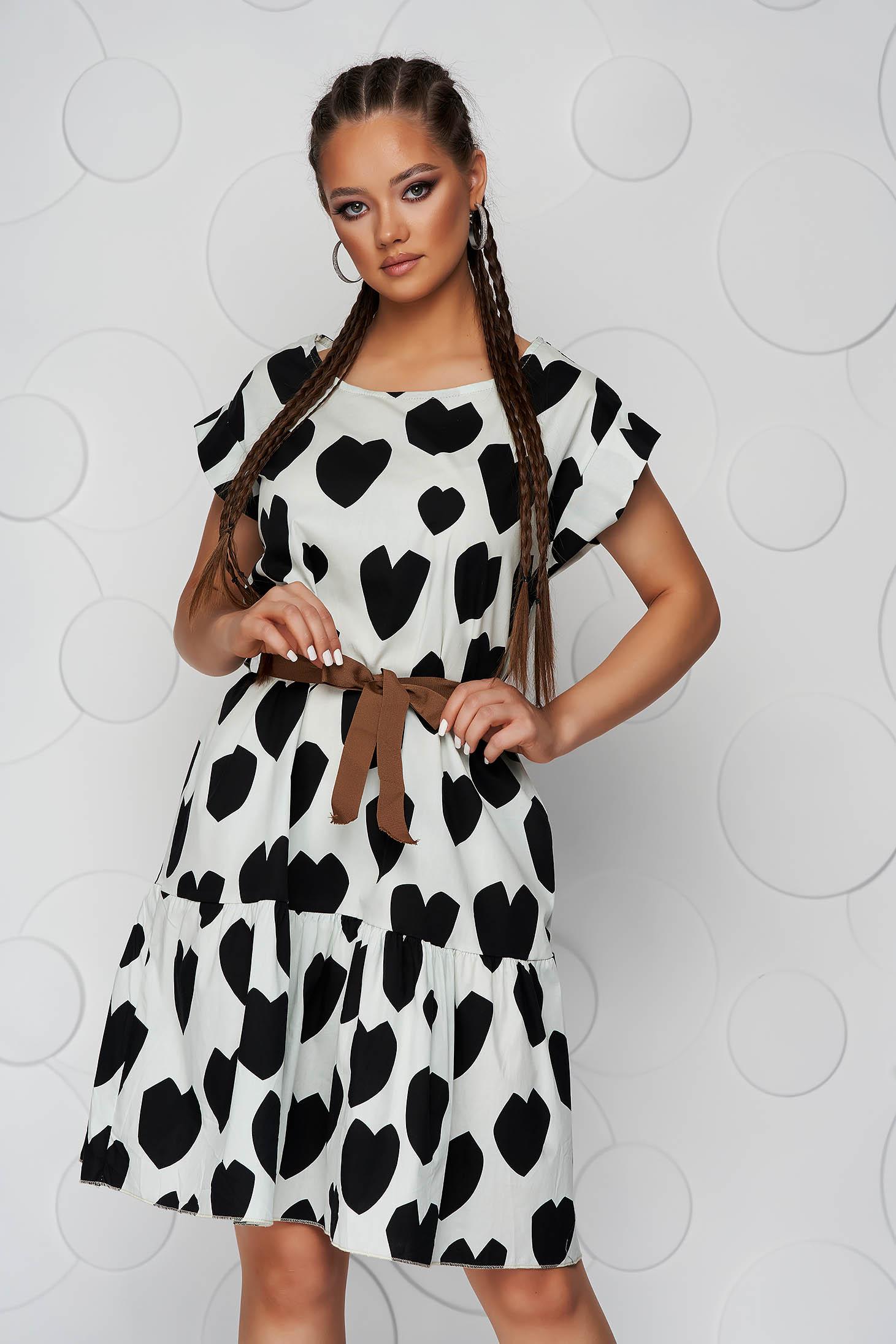 Pamutból készült midi ruha rövid ujjal bő szabású