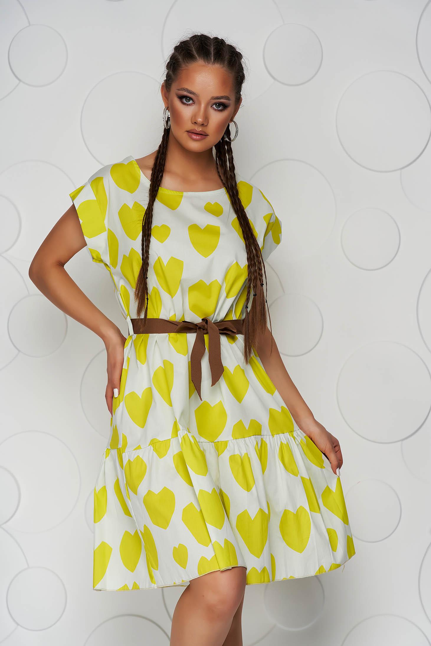 Dress midi cotton short sleeves loose fit
