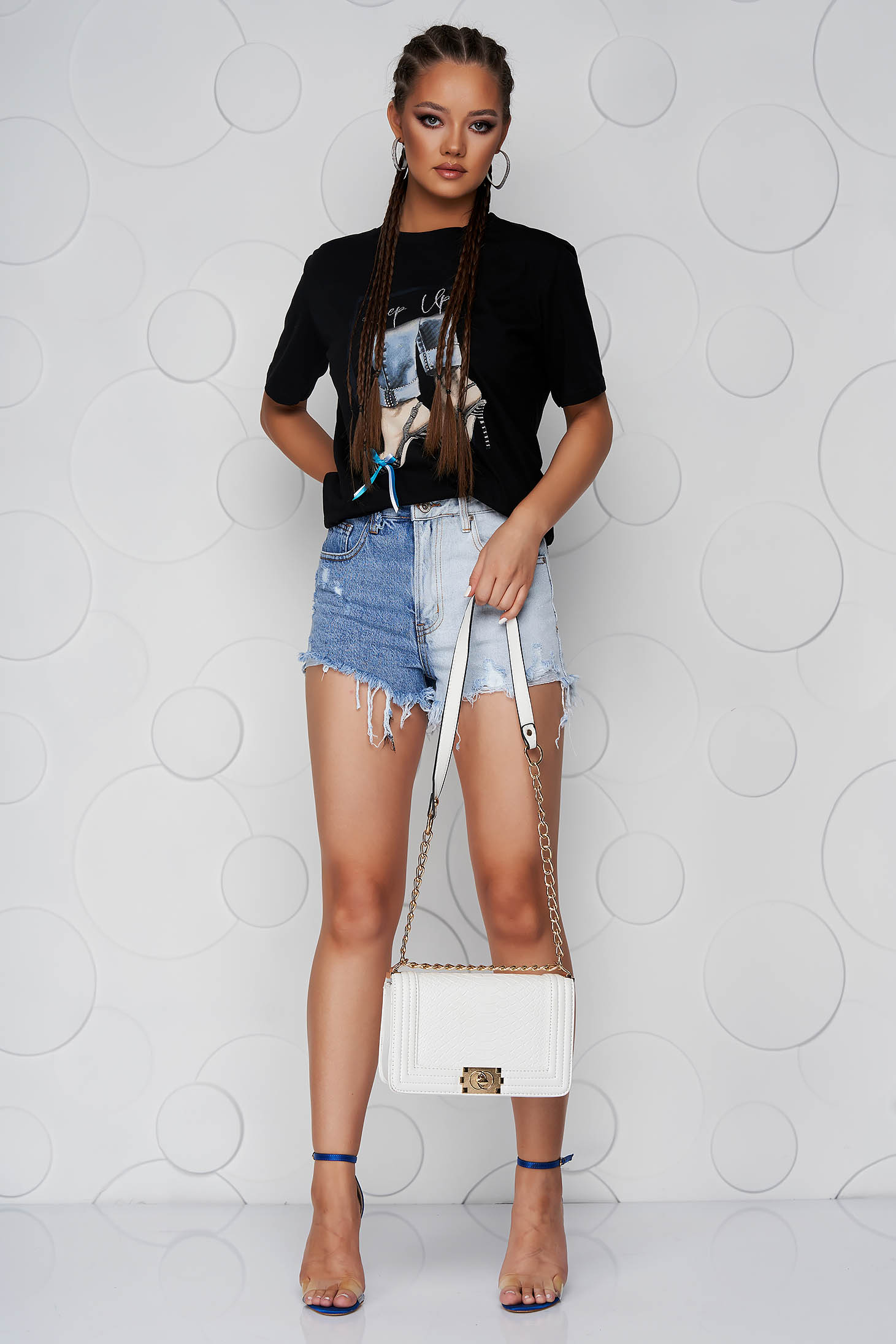 Tricou SunShine negru din bumbac cu croi larg si imprimeuri grafice