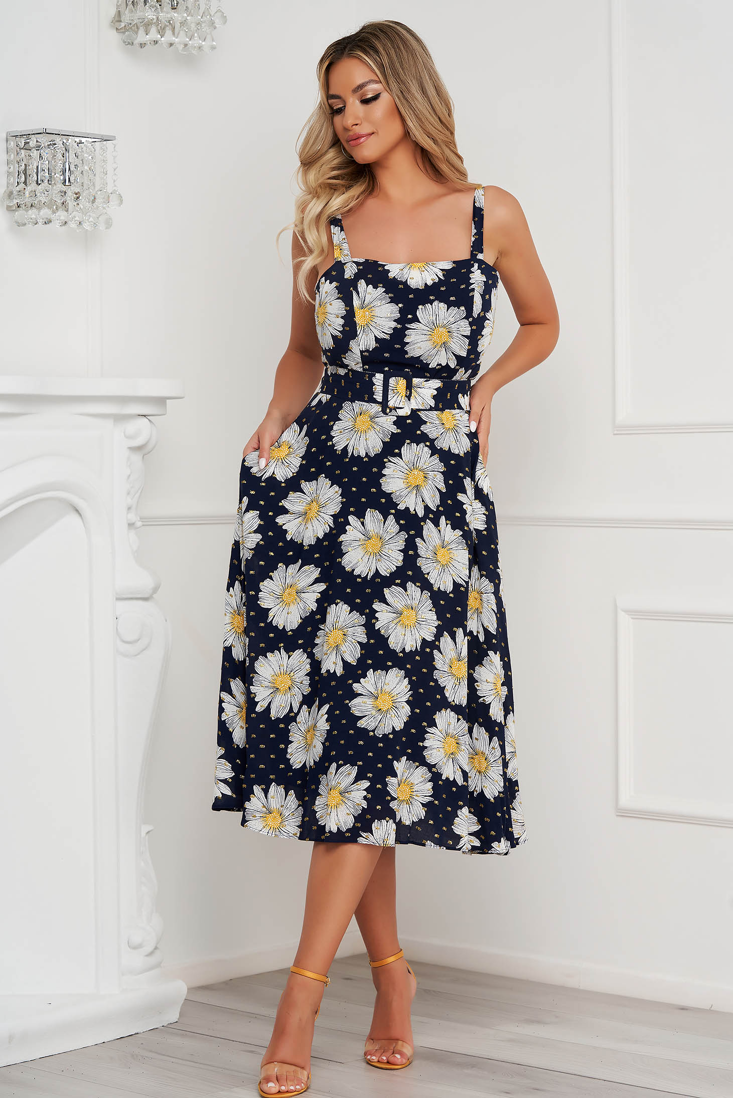 Dress office midi cloche with pockets with straps cotton