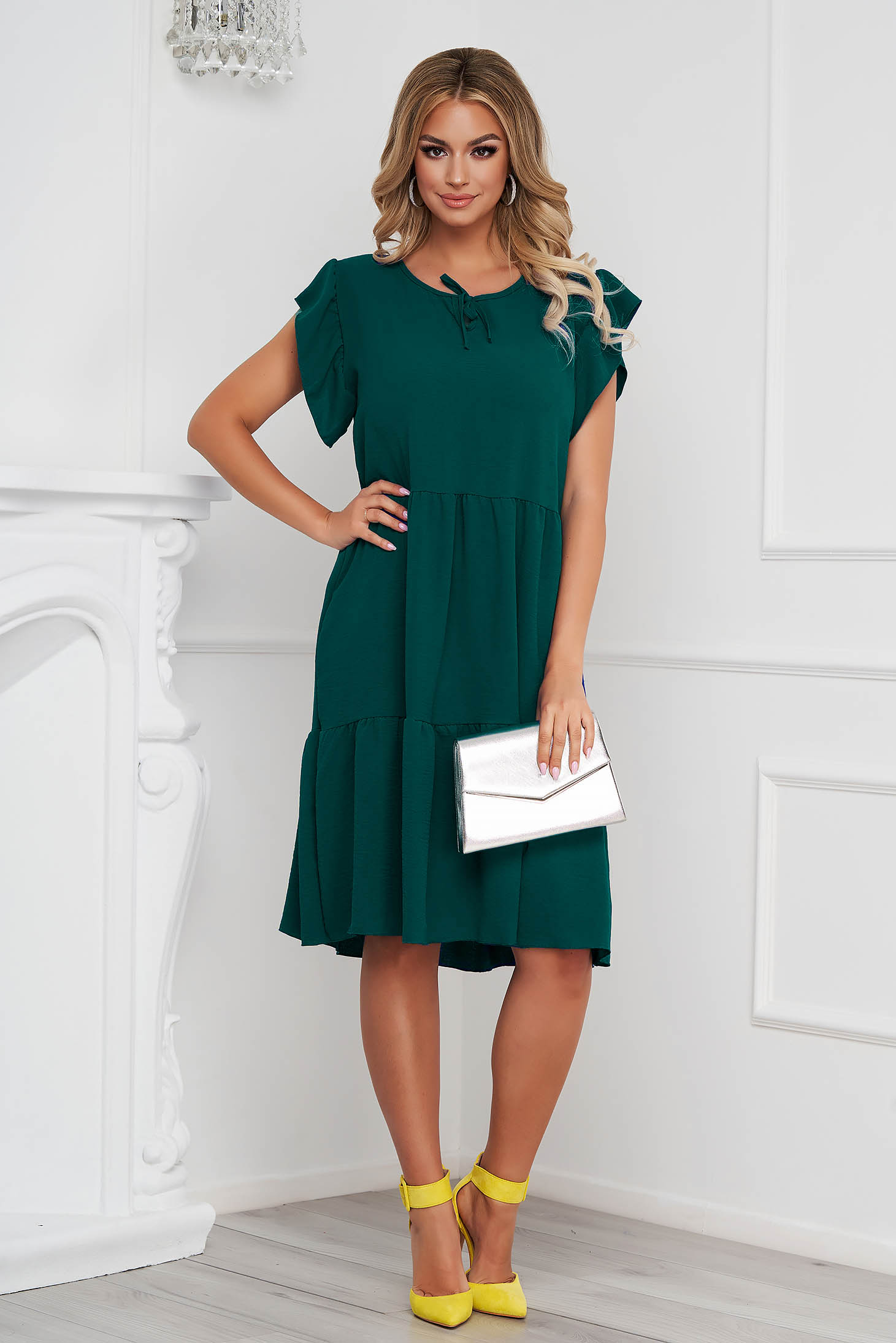 Darkgreen dress midi loose fit airy fabric with ruffle details