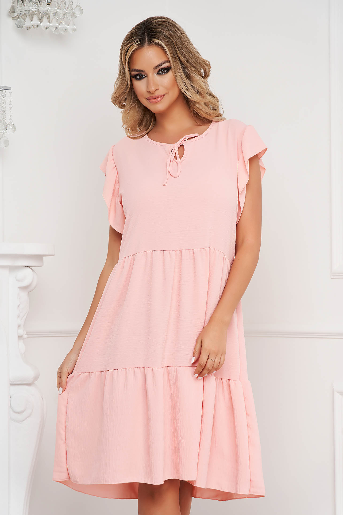 Peach dress midi loose fit airy fabric with ruffle details