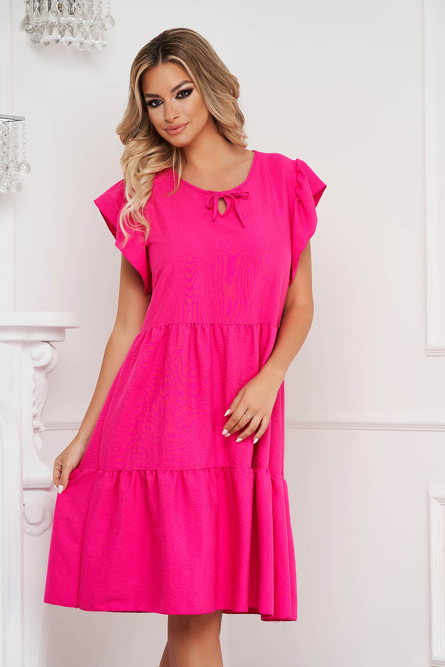 Fuchsia dress midi loose fit airy fabric with ruffle details