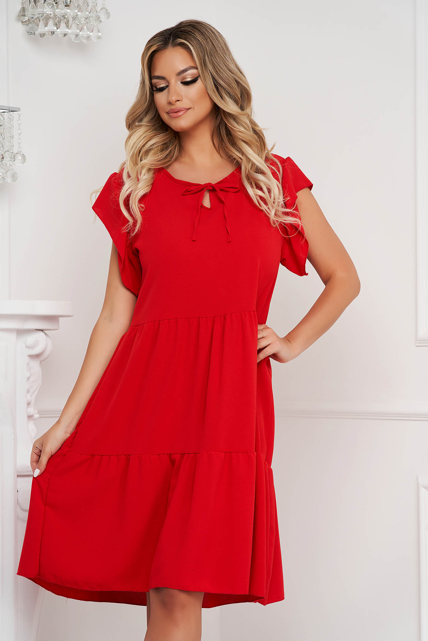 Red dress midi loose fit airy fabric with ruffle details