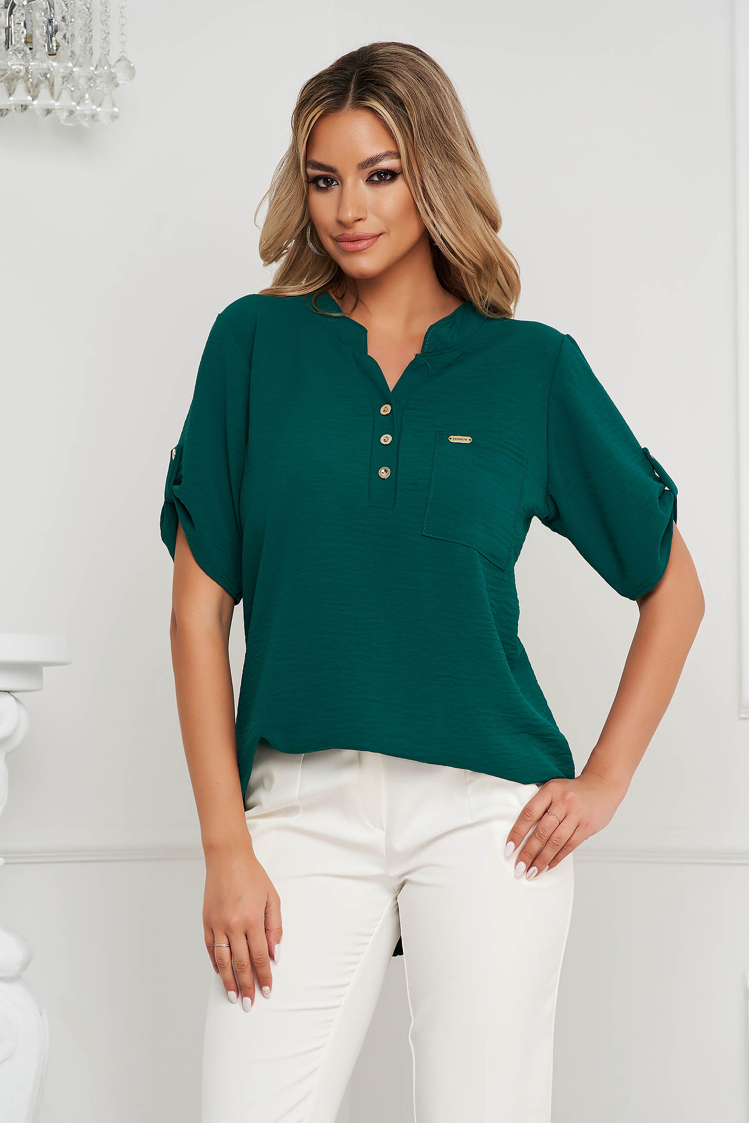 Darkgreen women`s blouse loose fit wrinkled material a front pocket