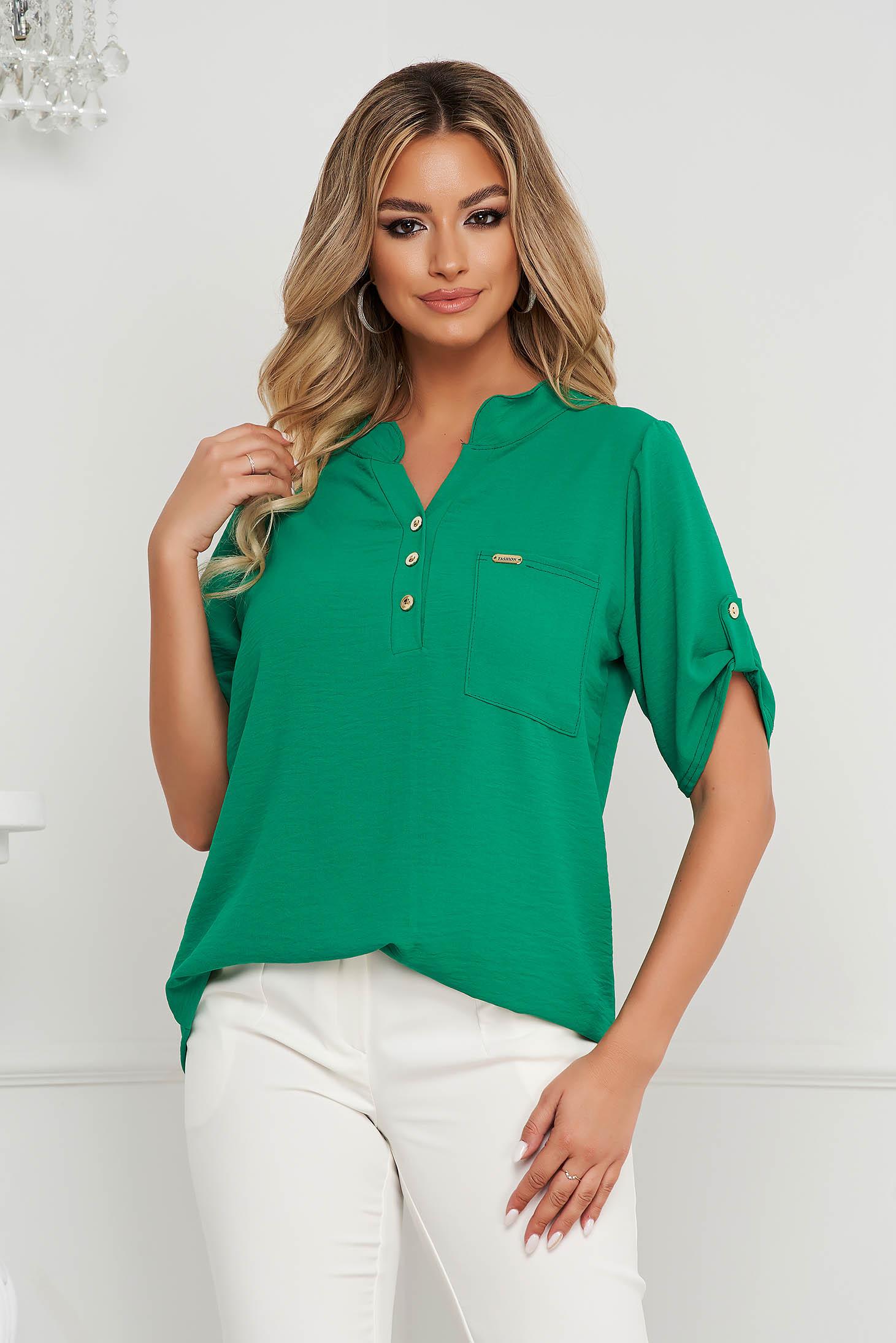 Bluza dama Lady Pandora verde din material vaporos si creponat cu croi larg si buzunar in fata