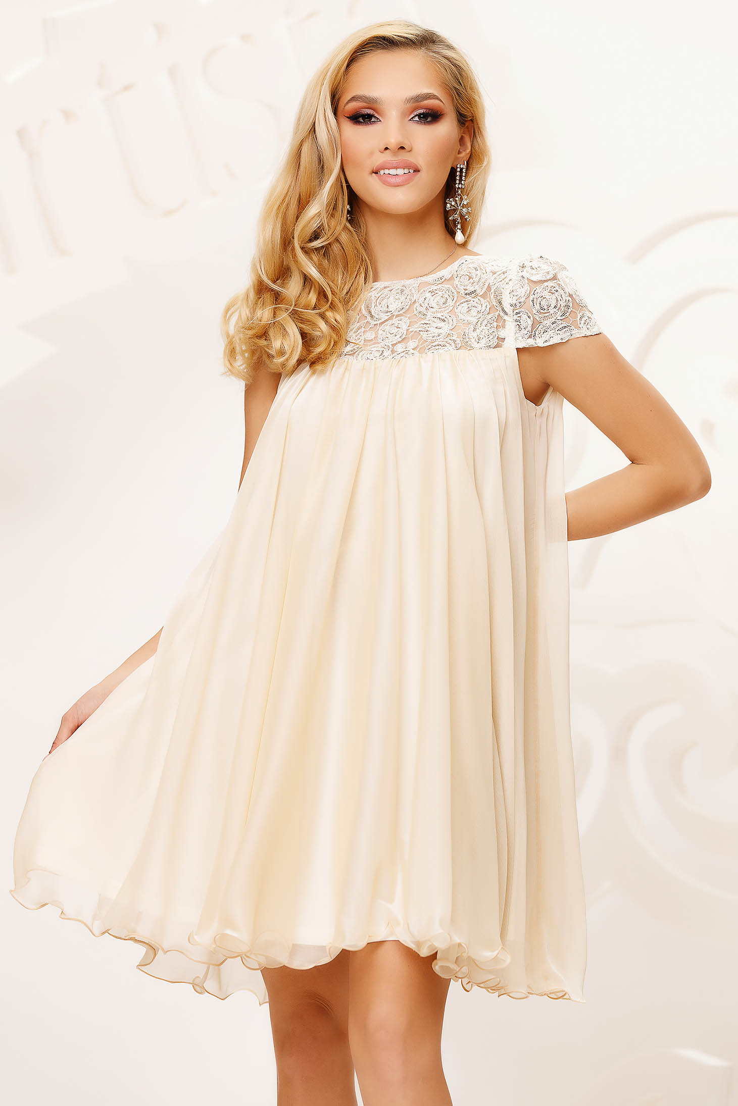 Cream dress from veil fabric occasional with lace details loose fit short cut