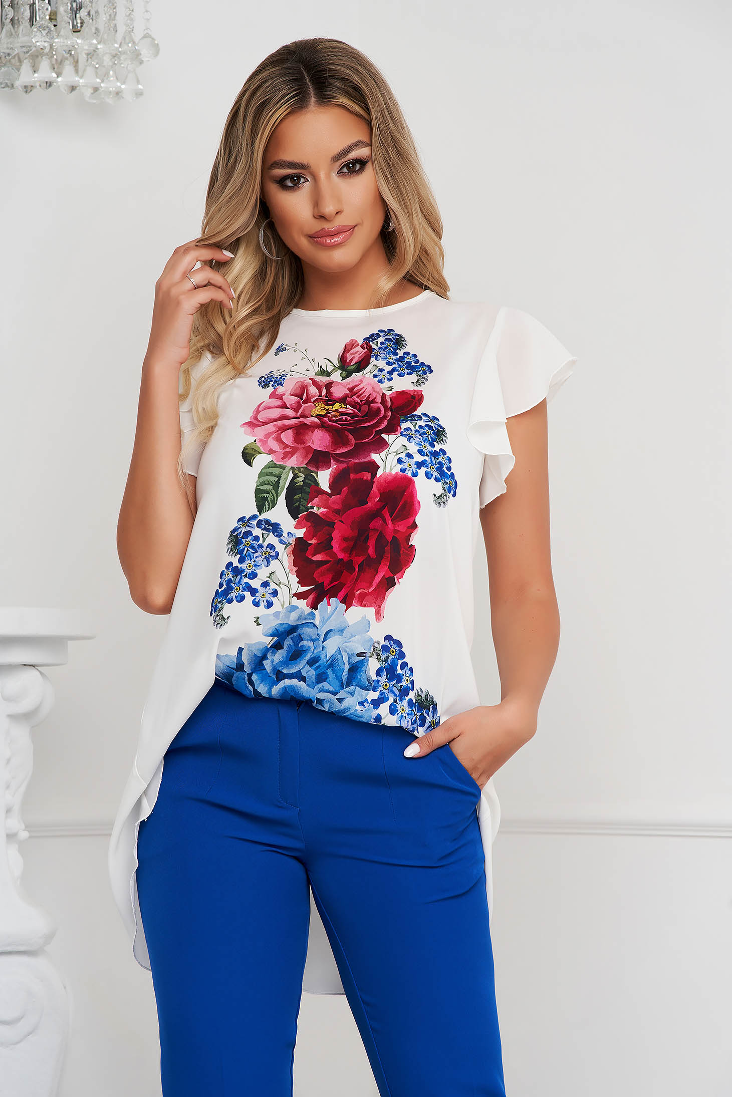 StarShinerS elegant asymmetrical women`s blouse loose fit with floral print