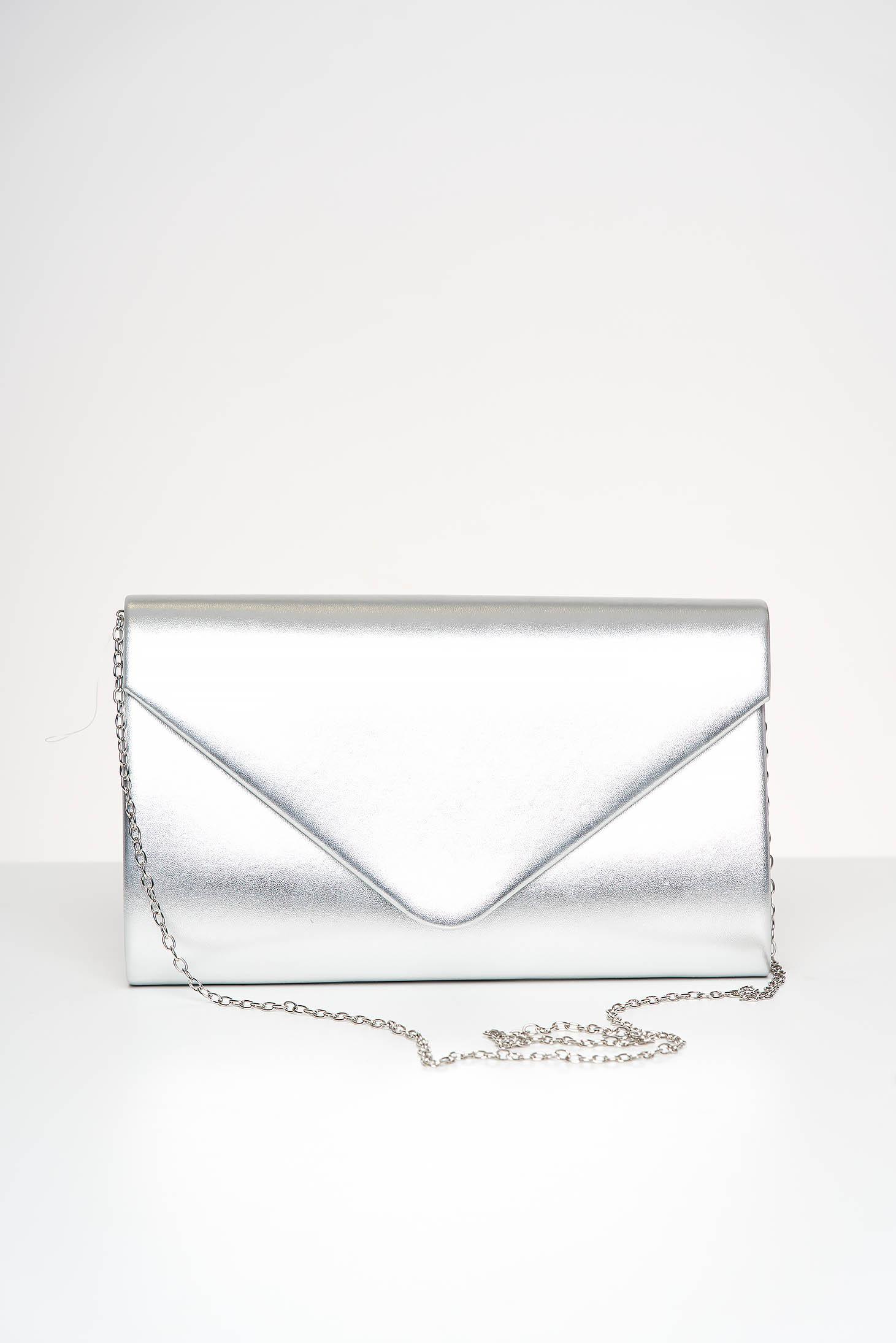 Geanta dama plic argintie de ocazie din piele ecologica