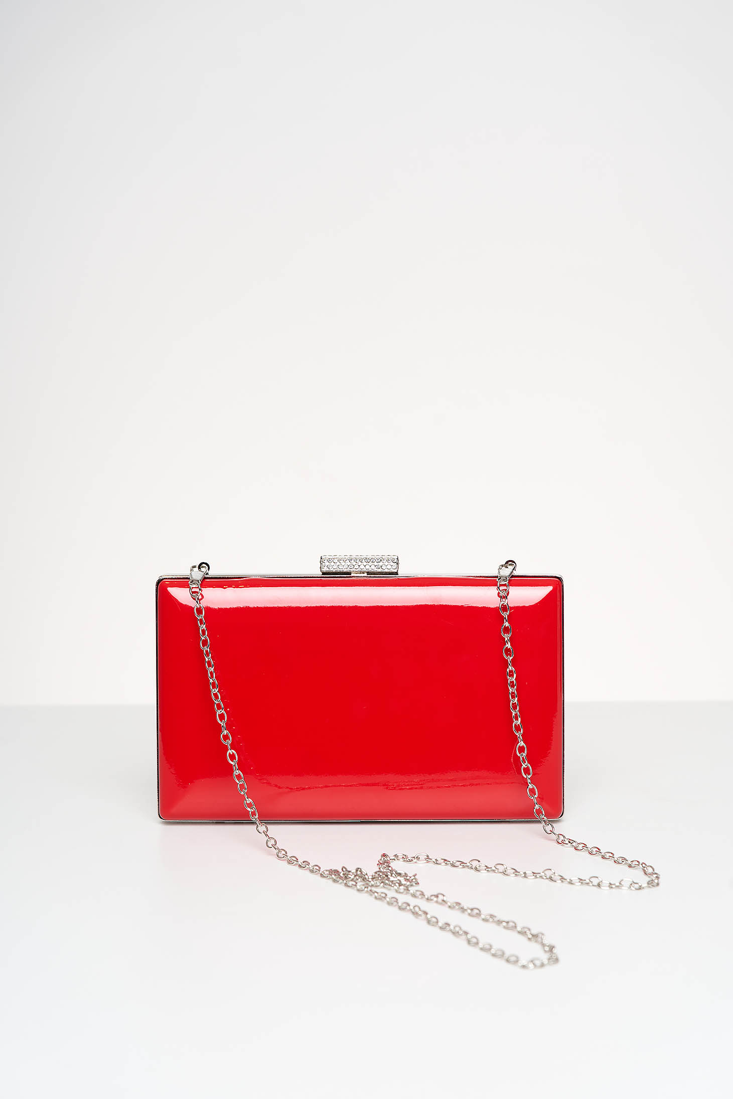 Red bag occasional lacquer fabric with crystal embellished details