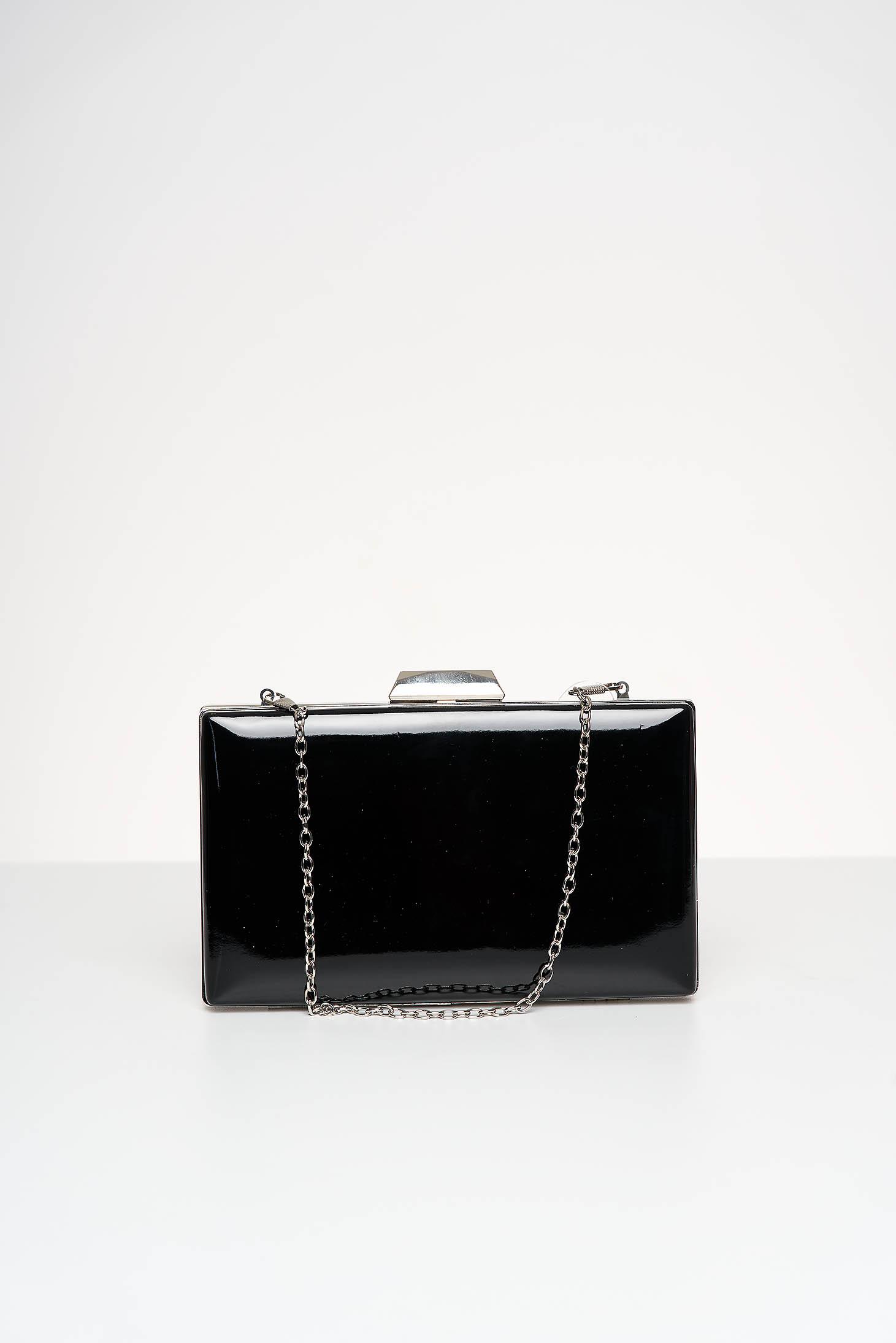 Black bag occasional from ecological varnished leather