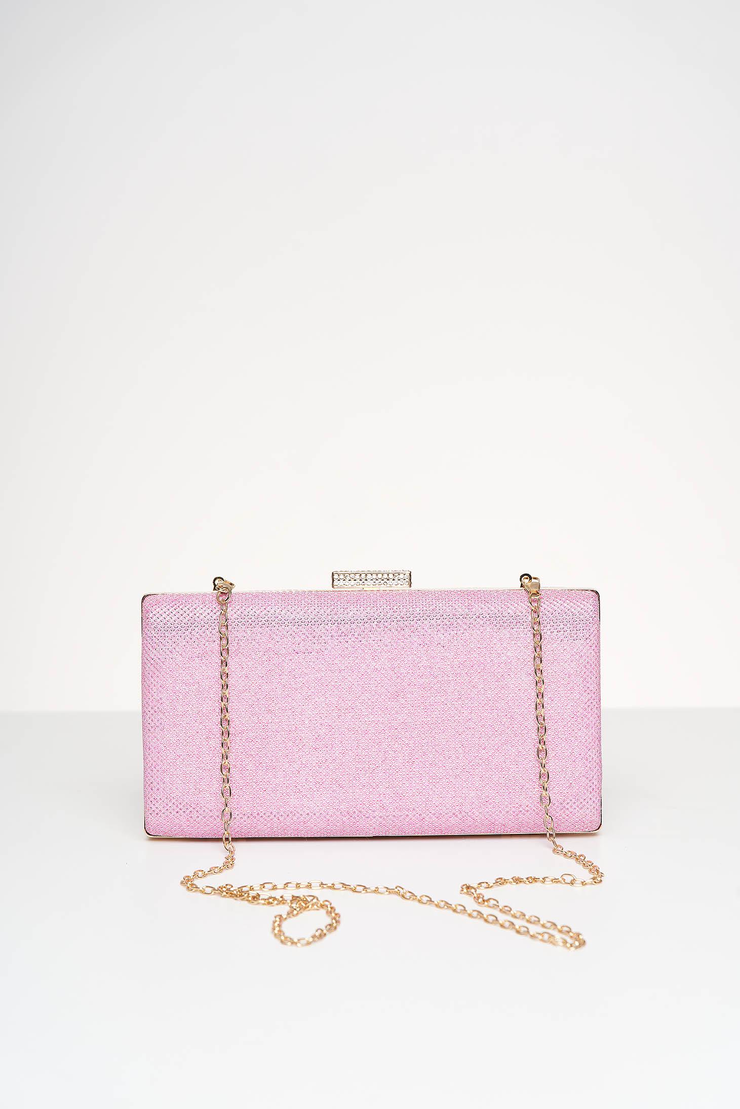 Geanta dama tip clutch roz de ocazie cu aplicatii cu sclipici
