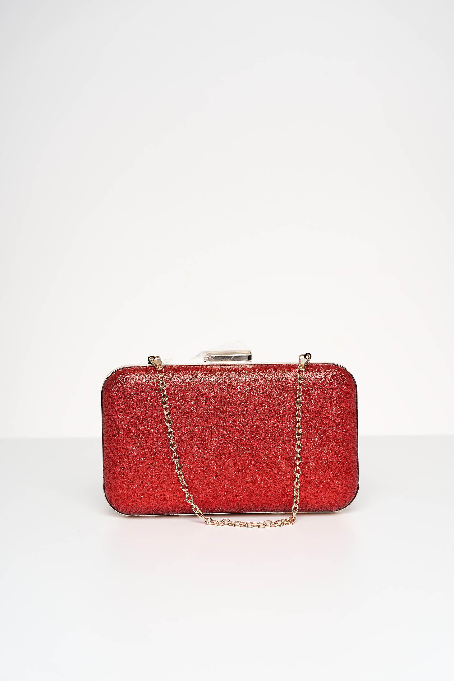 Geanta dama tip clutch rosie de ocazie cu aplicatii cu sclipici