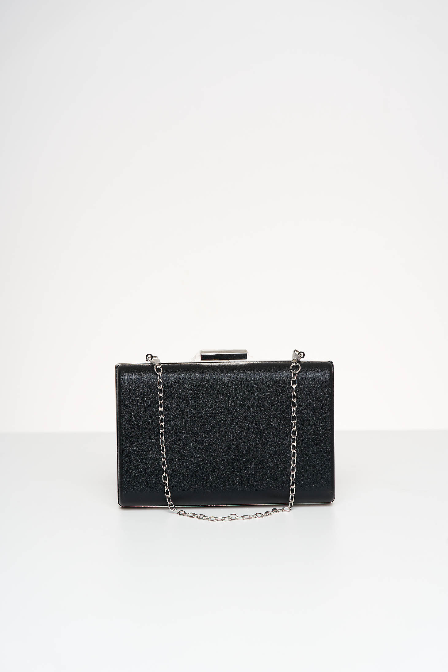 Black bag occasional from satin fabric texture with glitter details