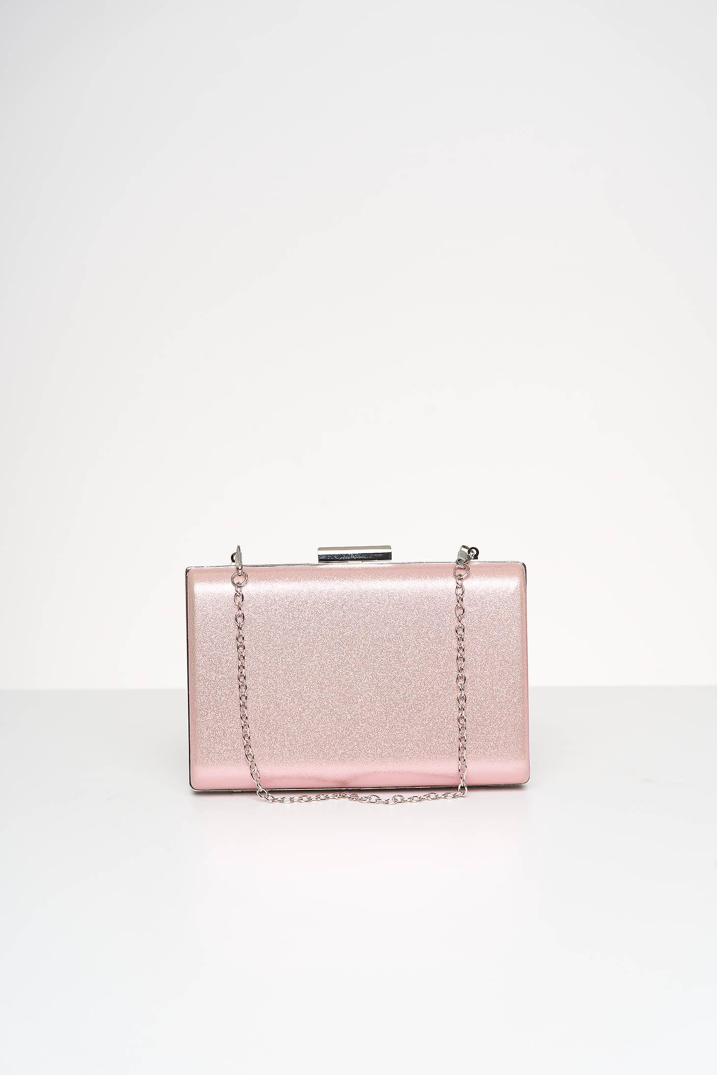 Geanta dama tip clutch roz de ocazie din material satinat cu aplicatii cu sclipici