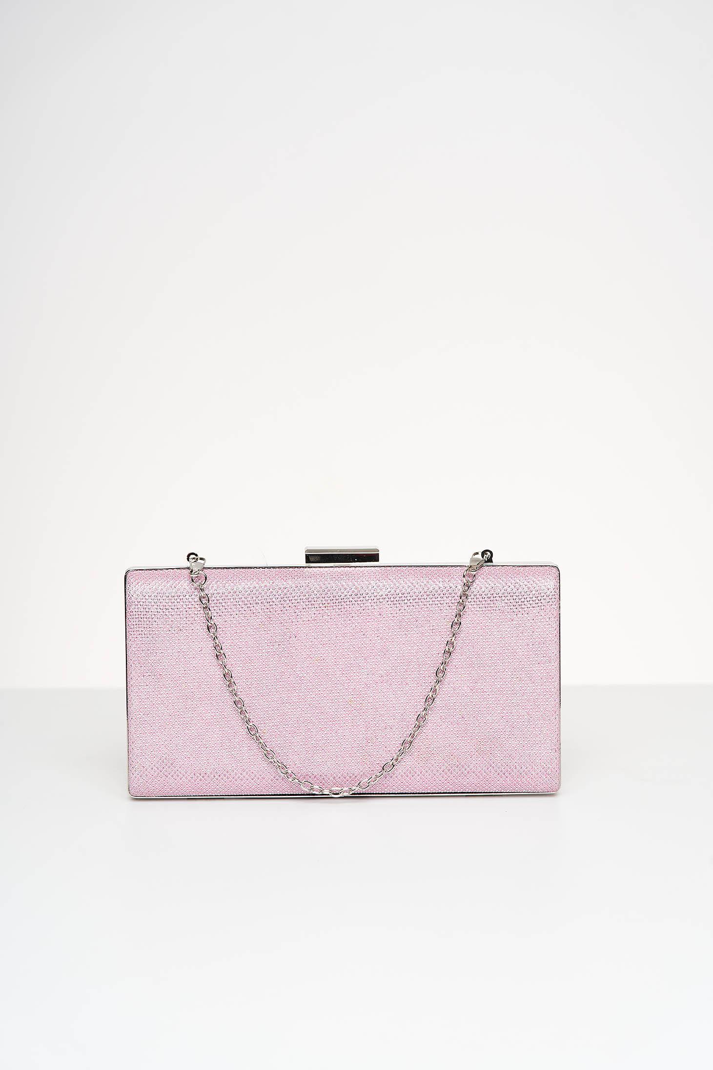 Geanta dama tip clutch roz deschis de ocazie cu aplicatii cu sclipici