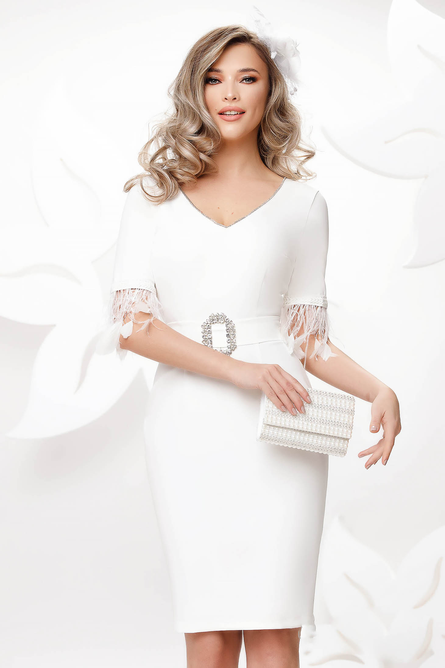 White dress midi pencil feather details with crystal embellished details cloth buckle accessory