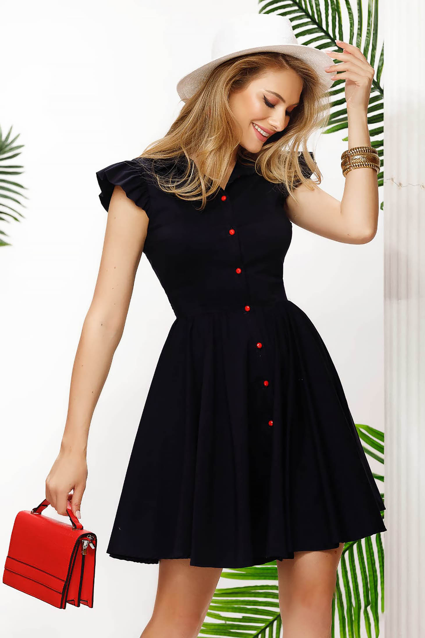 Darkblue dress short cut cloche cotton from elastic fabric with ruffled sleeves