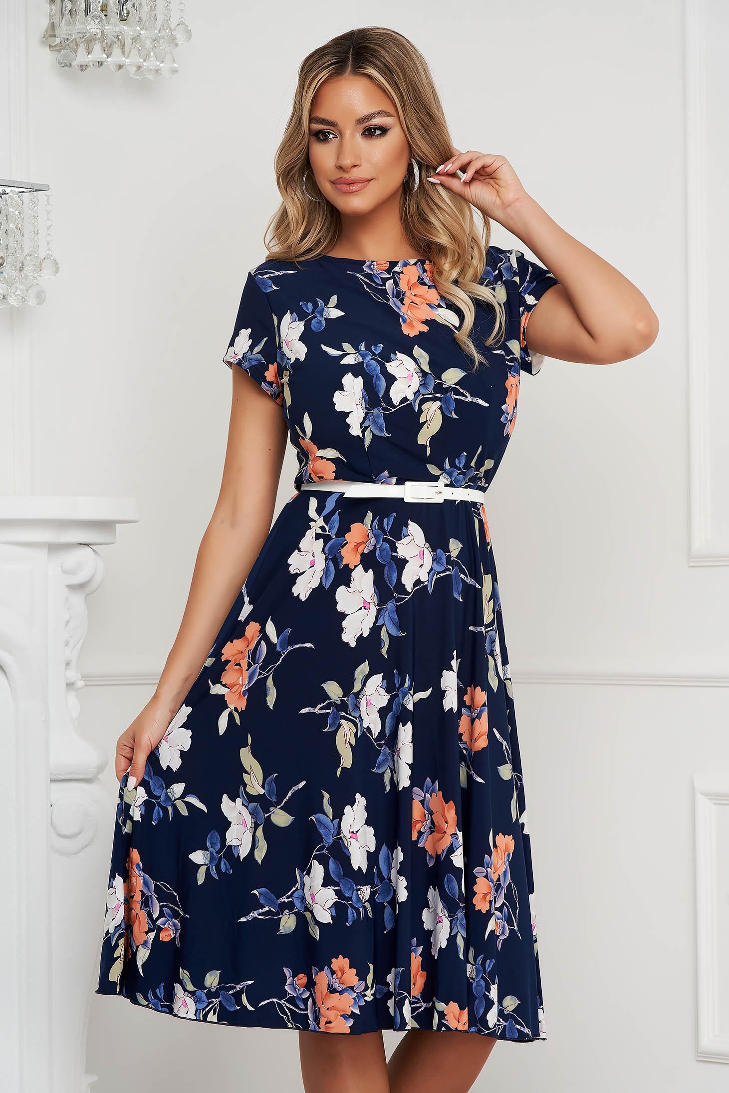 Dress office midi flaring cut from elastic fabric short sleeves