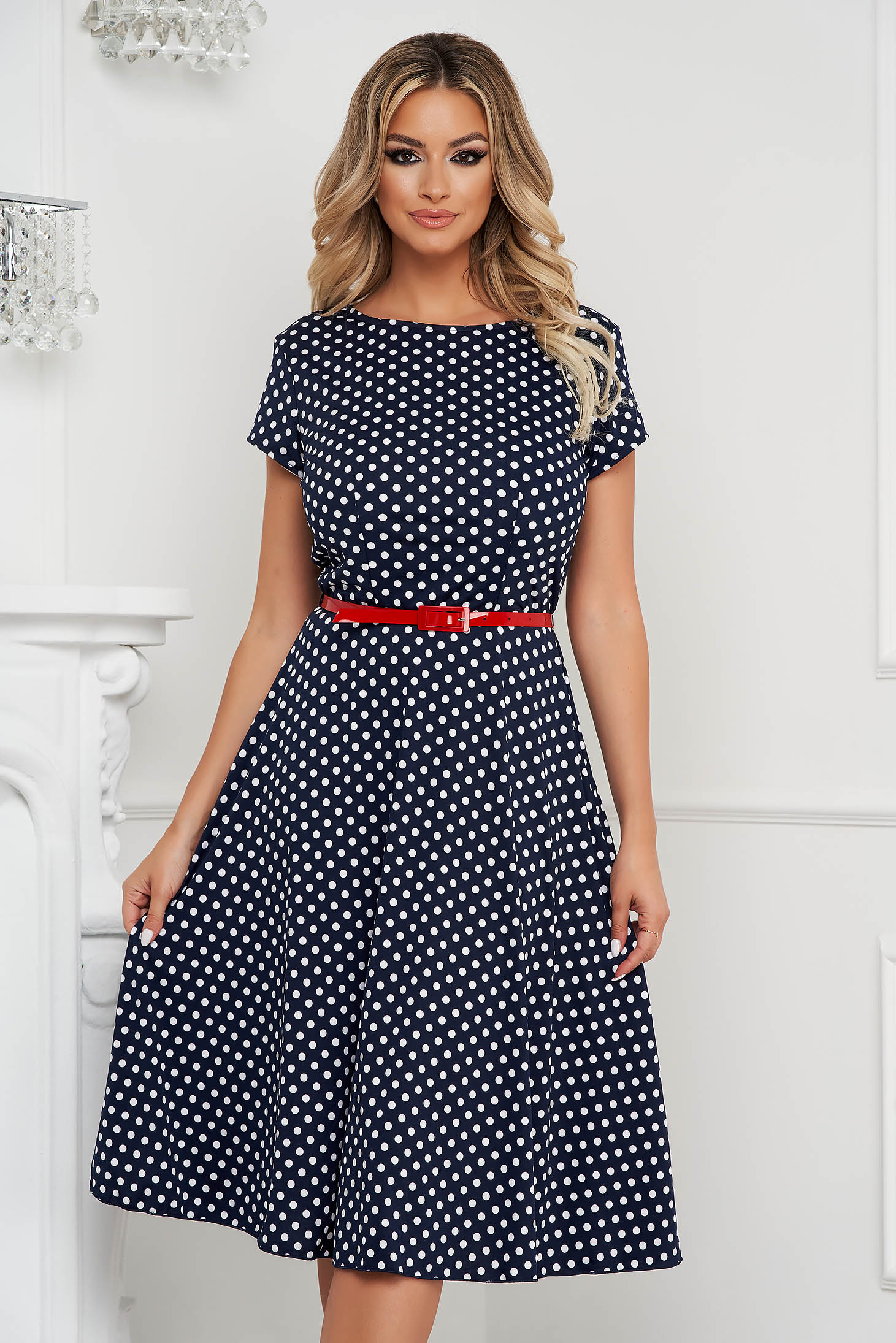Dress midi office dots print from elastic fabric cloche with elastic waist