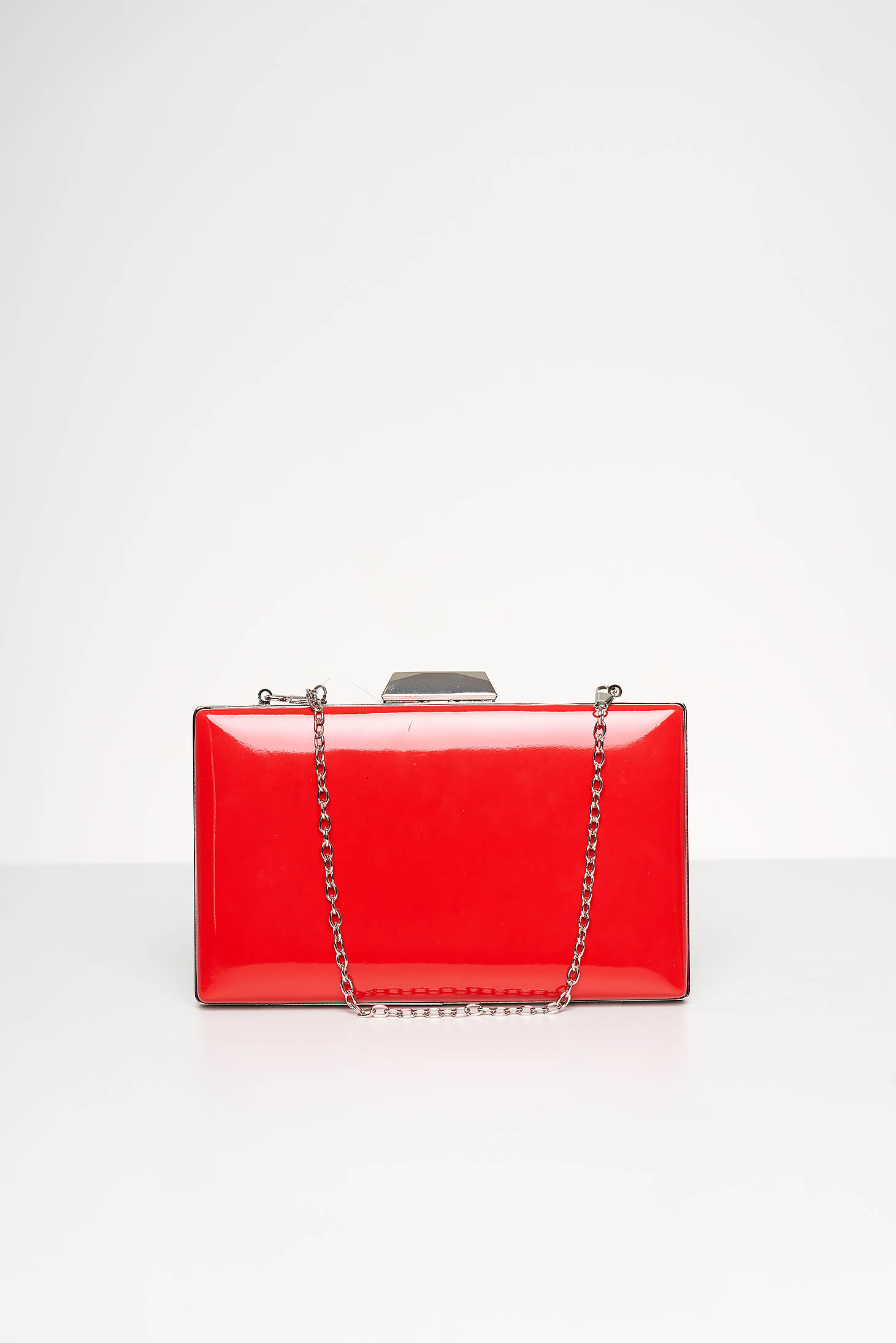 Red bag occasional from ecological varnished leather