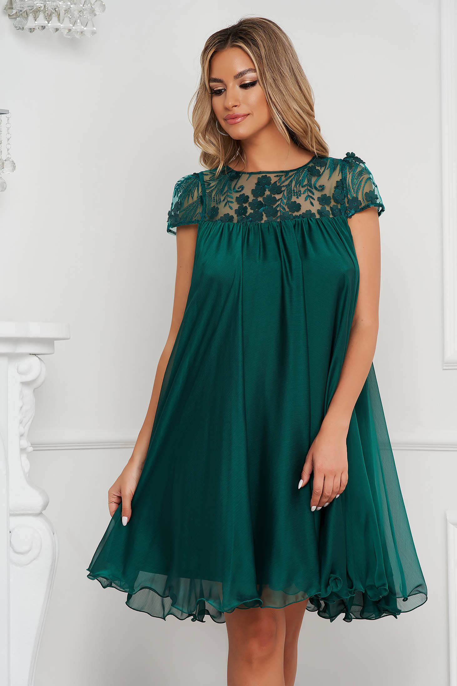 Dress from veil fabric occasional with lace details loose fit short cut