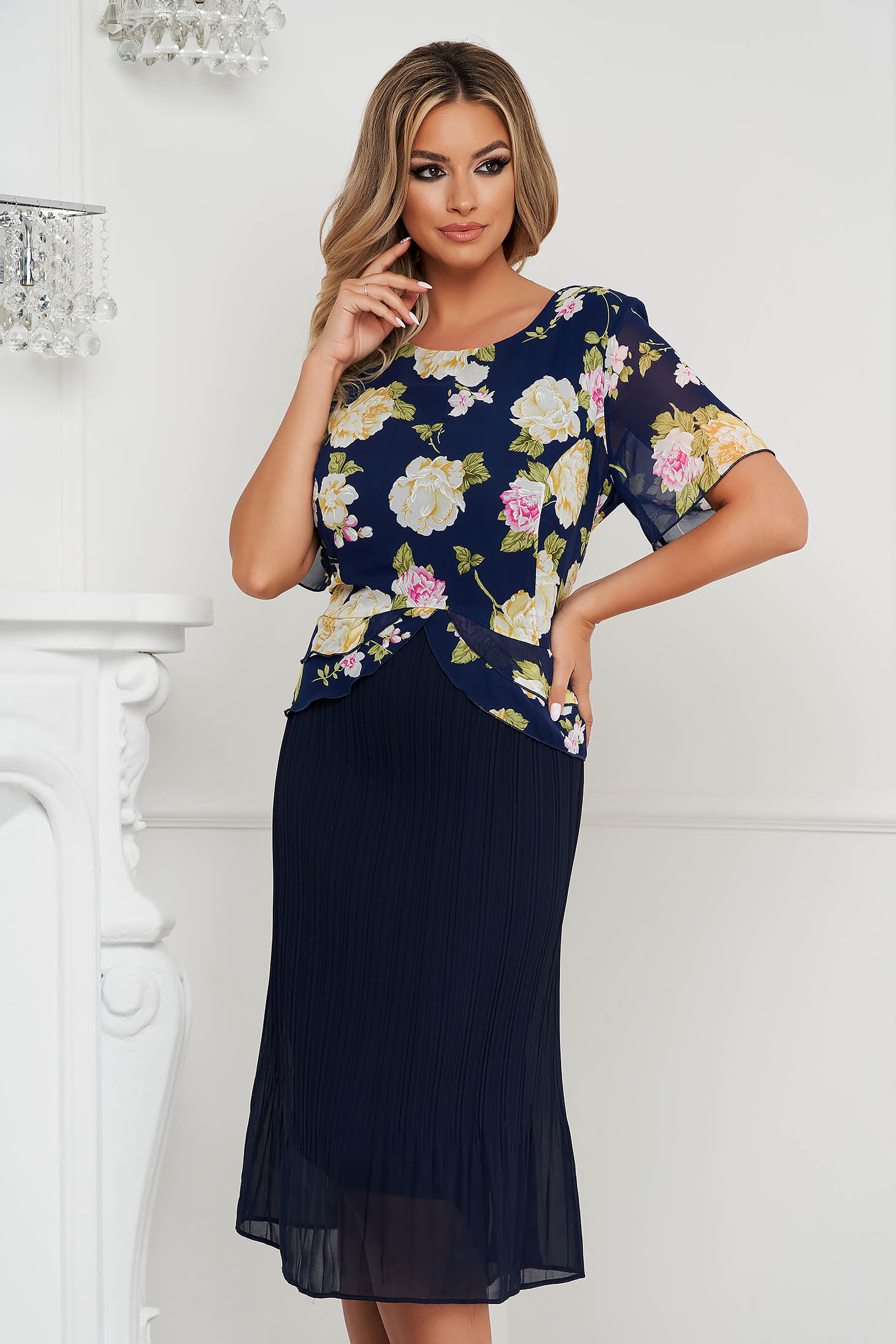 Dress from veil fabric straight midi folded up with frilled waist