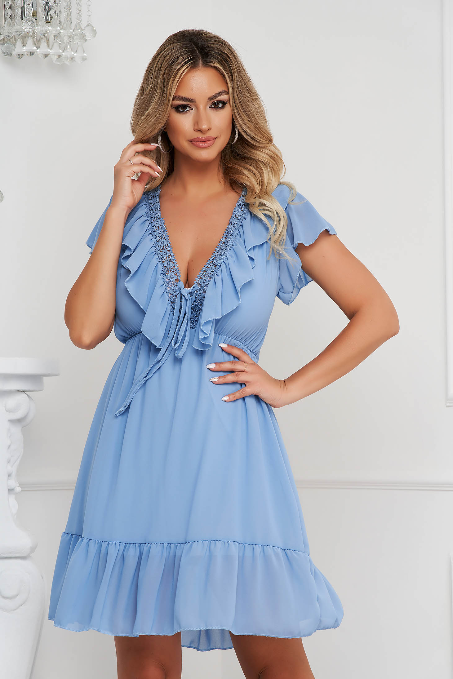 Blue dress cloche with elastic waist from veil fabric short cut with embroidery details with ruffle details