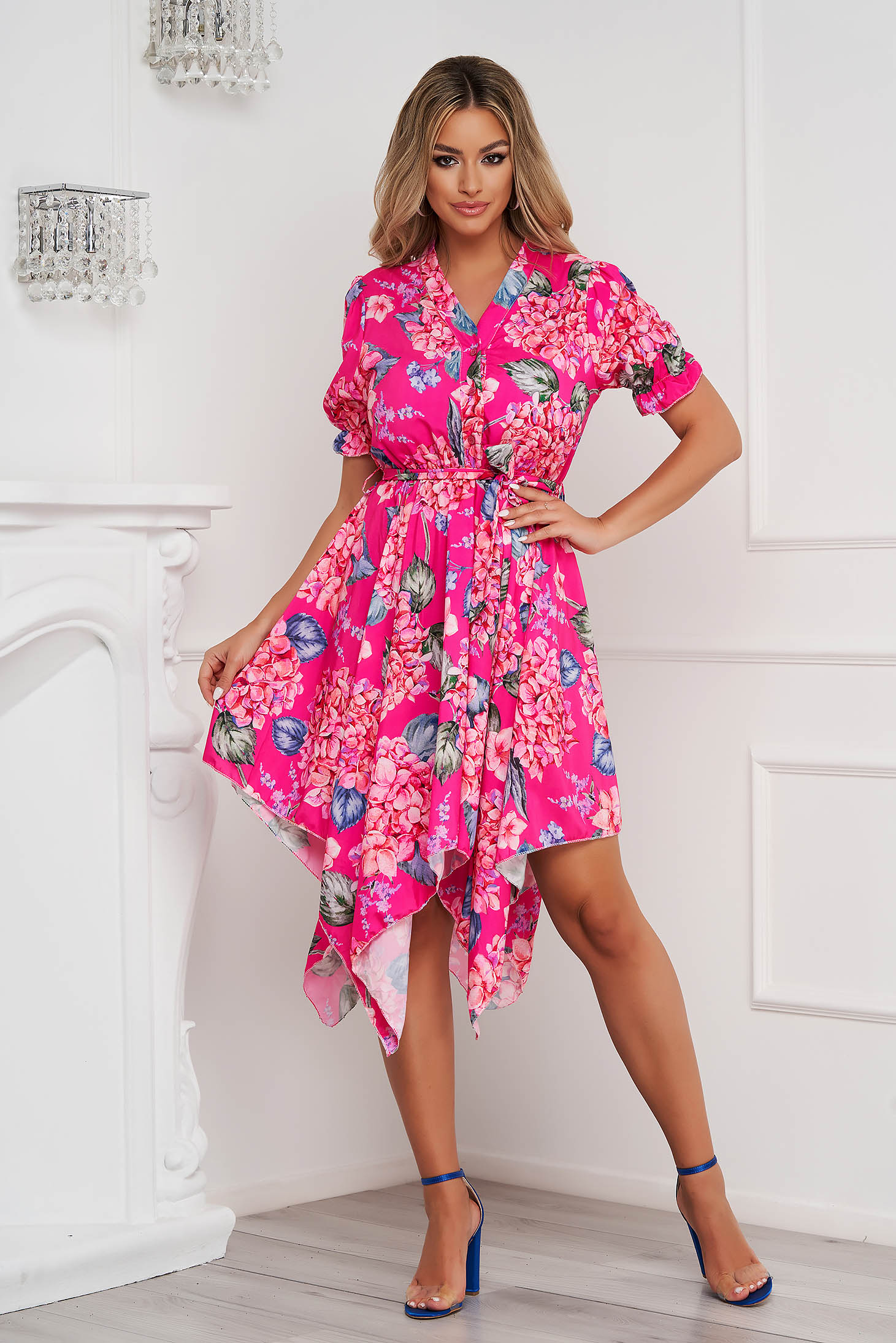 Dress asymmetrical cloche with elastic waist soft fabric with floral print