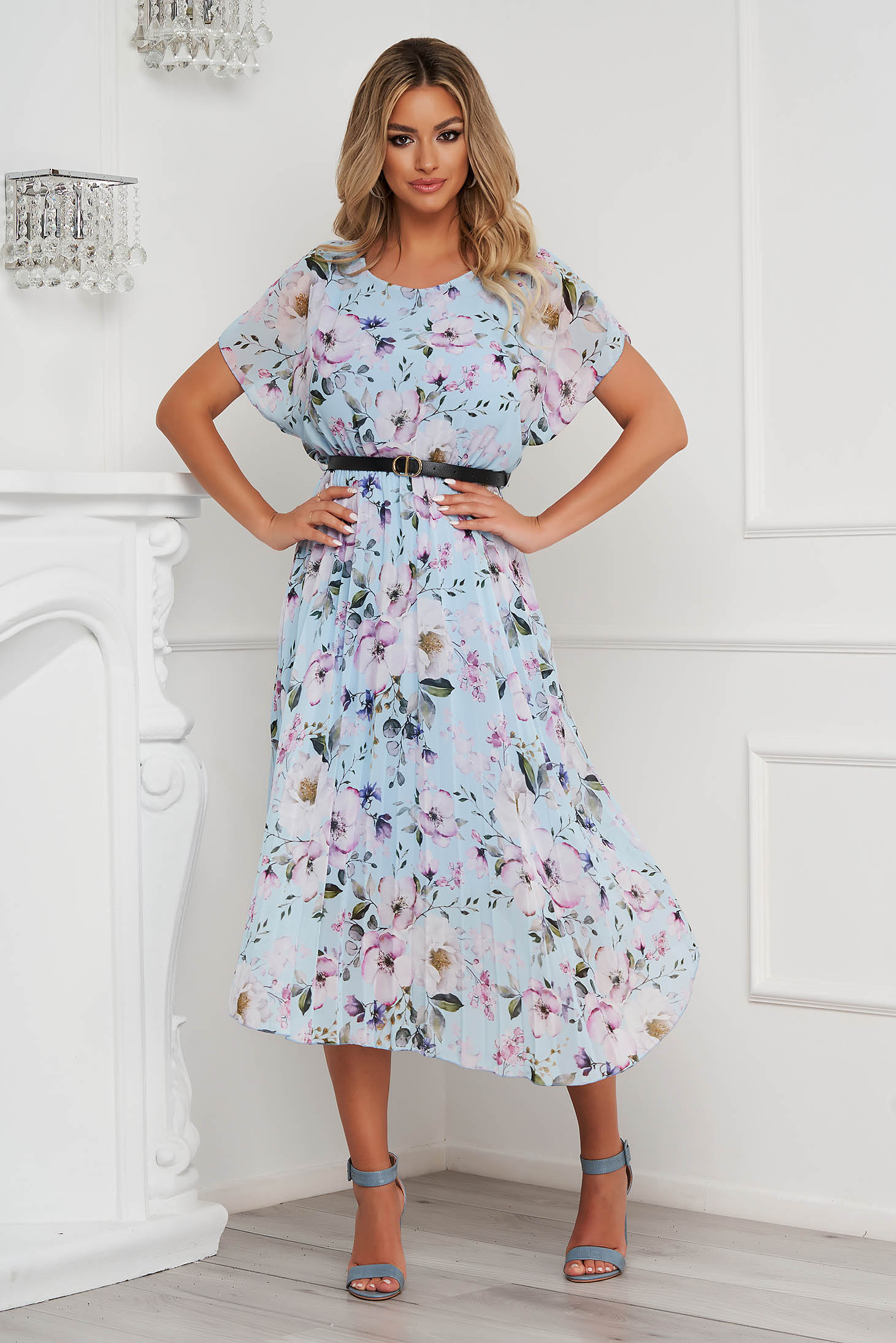 Dress midi from veil fabric folded up faux leather belt