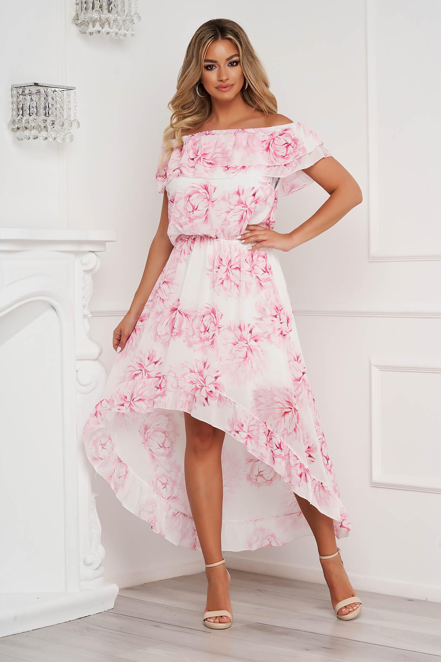 Dress asymmetrical from veil fabric naked shoulders frilly trim around neck and cleavage line