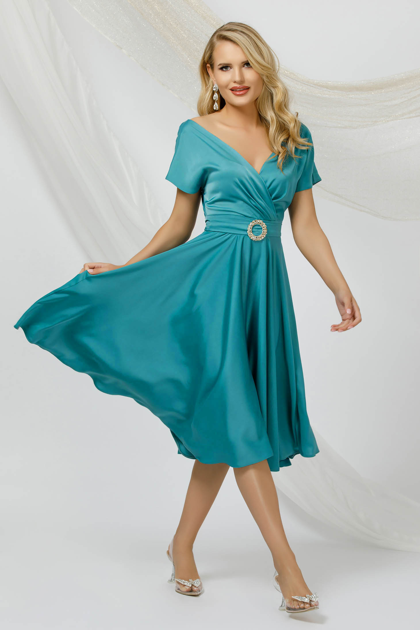 Turquoise dress cloche midi from satin with tie back belt