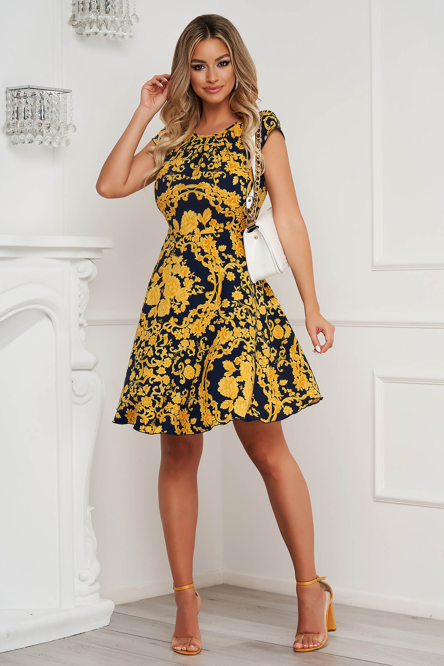 Dress cloche short cut thin fabric short sleeves with floral print office