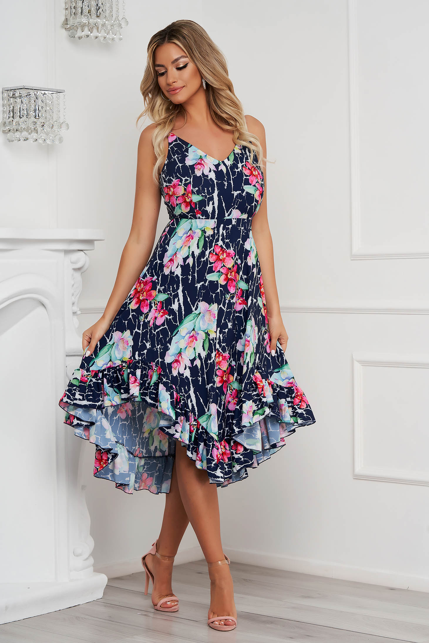 StarShinerS dress cloche midi thin fabric asymmetrical with ruffles at the buttom of the dress with straps