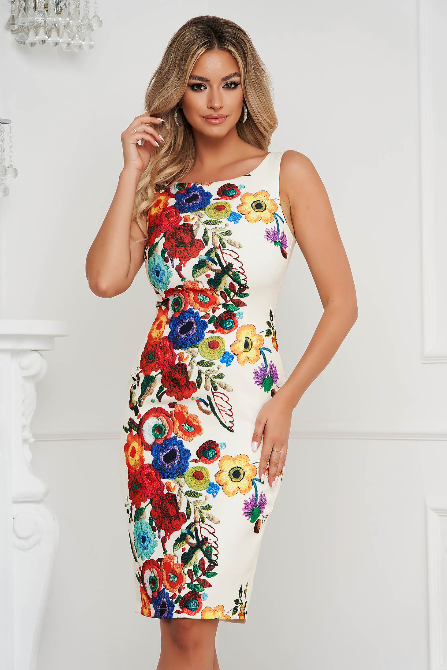StarShinerS dress pencil midi with floral print office cloth thin fabric