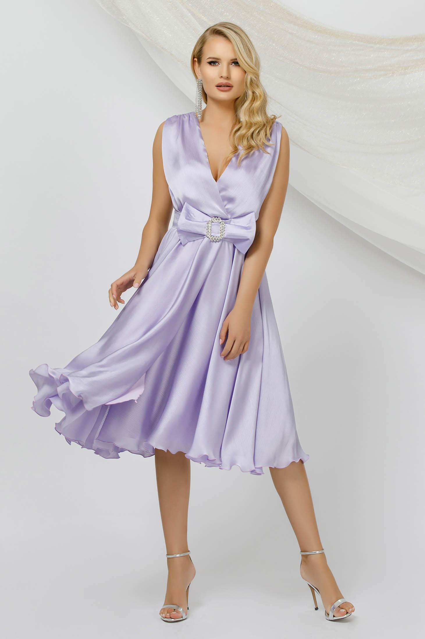 Alkalmi midi harang lila ruha muszlin anyagból, ujjatlan, eltávolítható övvel