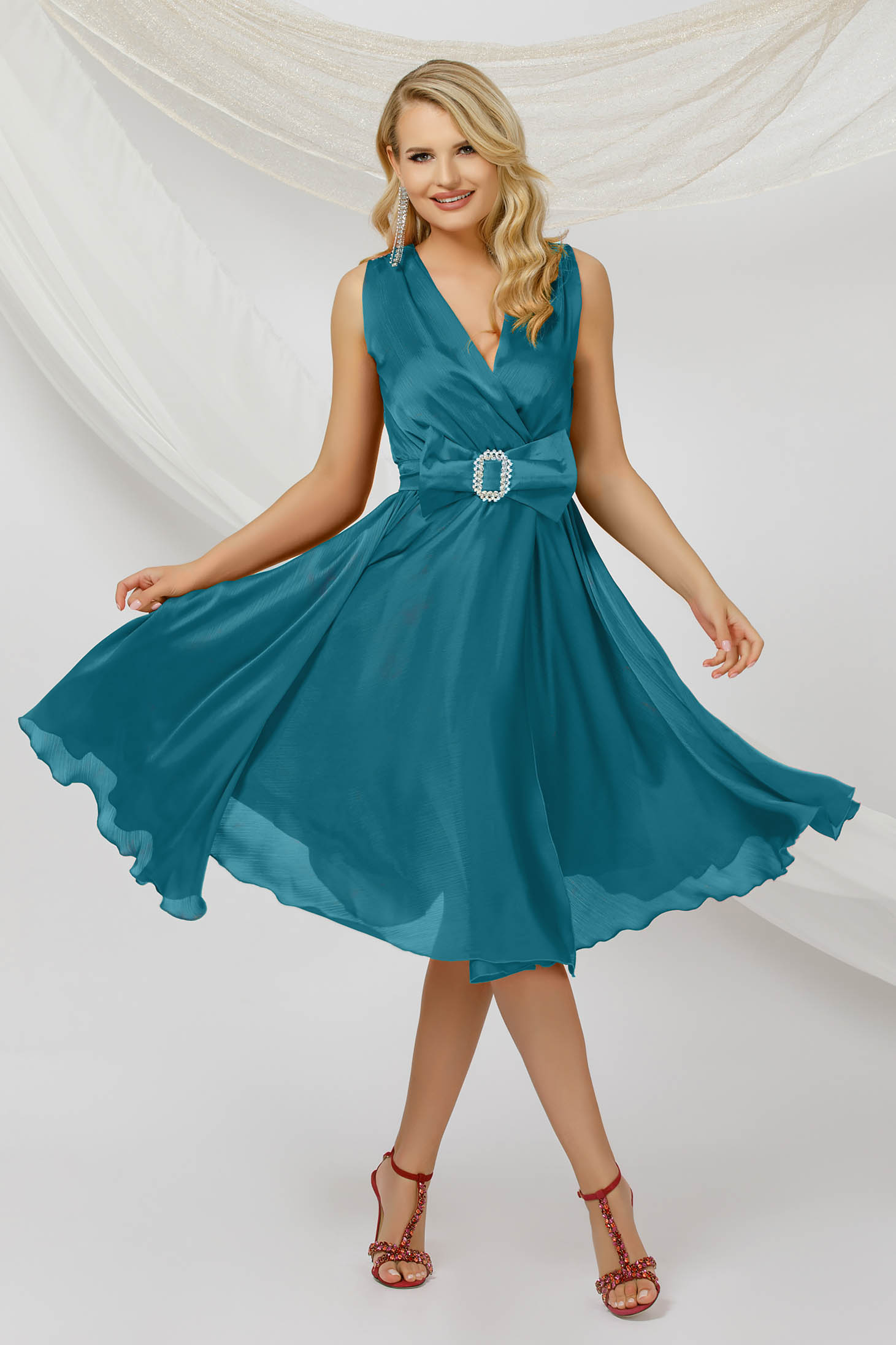 Turquoise dress midi occasional cloche from veil fabric sleeveless detachable cord