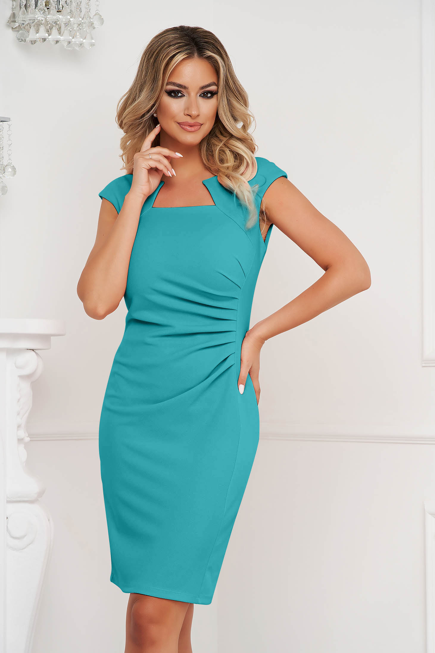 Turquoise dress office short cut pencil from elastic fabric short sleeves