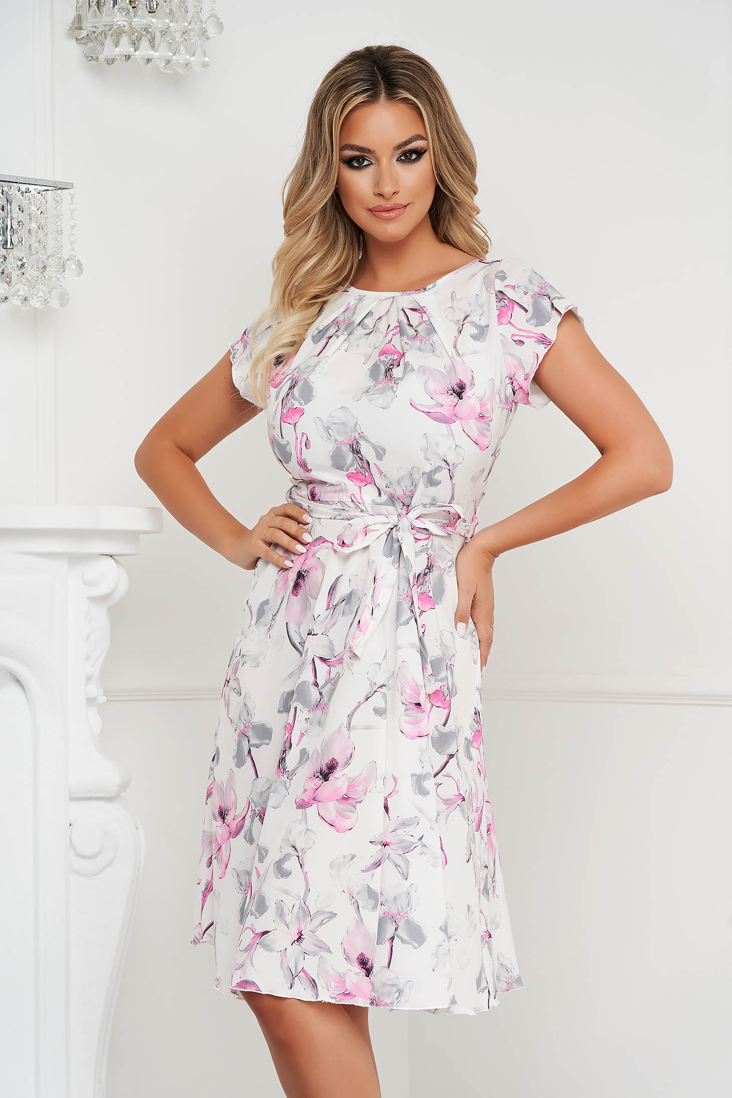 Dress cloche midi thin fabric detachable cord office with floral print