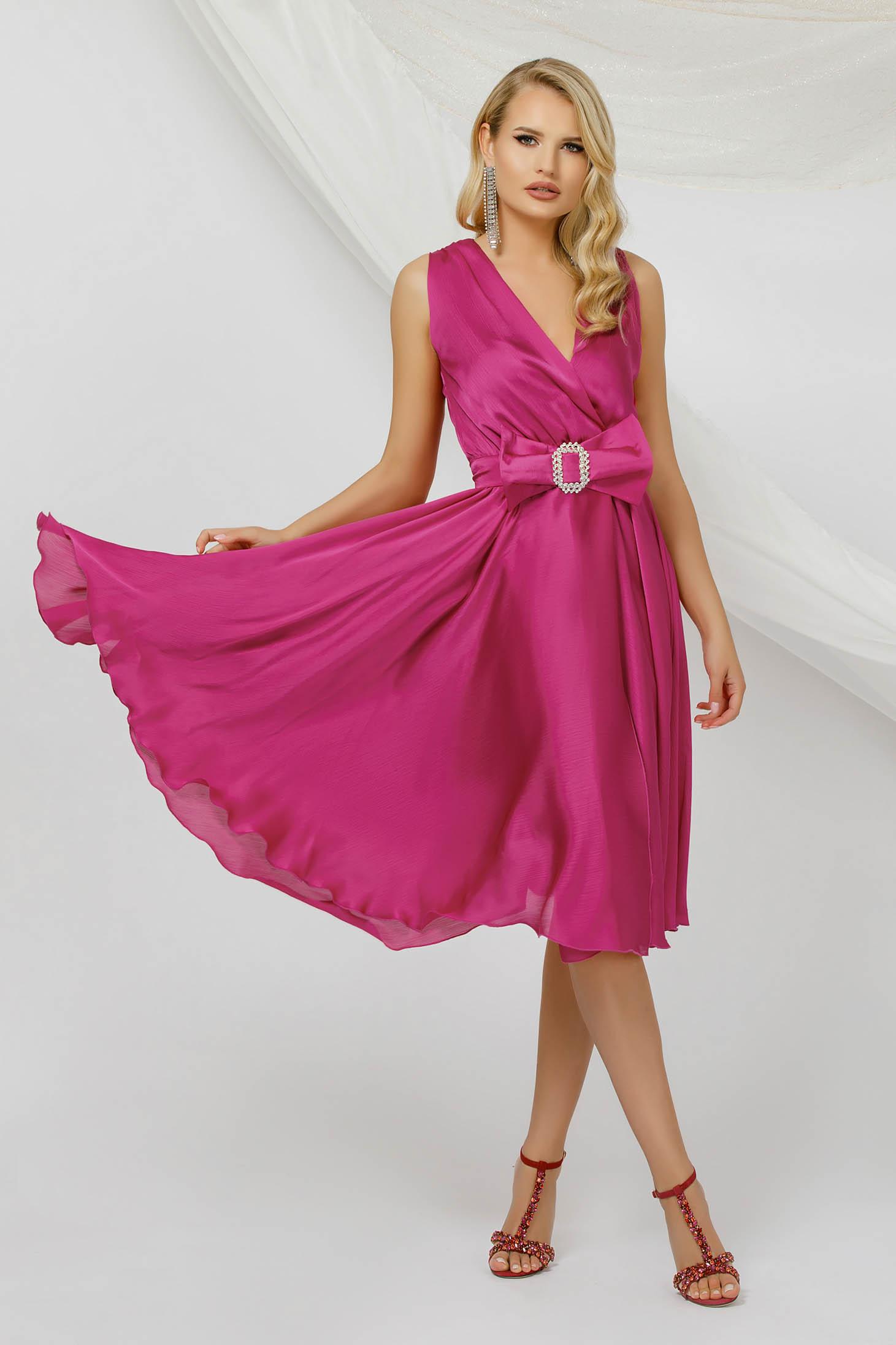 Fuchsia dress midi occasional cloche from veil fabric sleeveless detachable cord