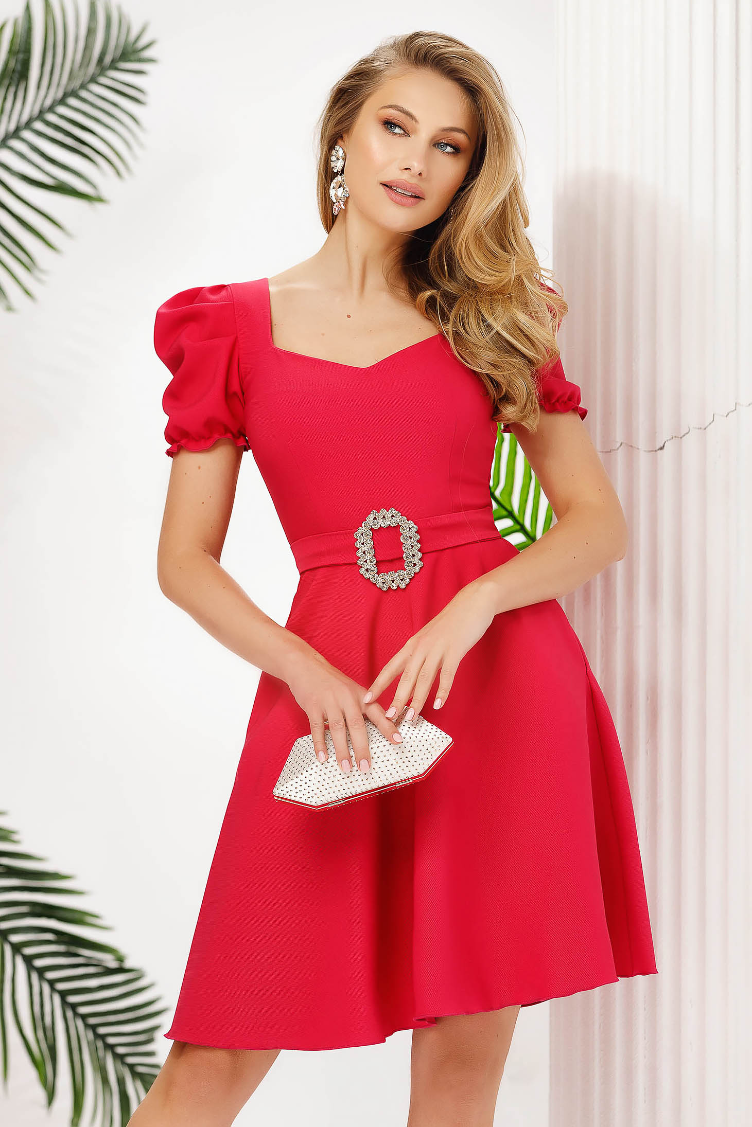 Fuchsia dress cloche short cut with pockets slightly elastic fabric occasional