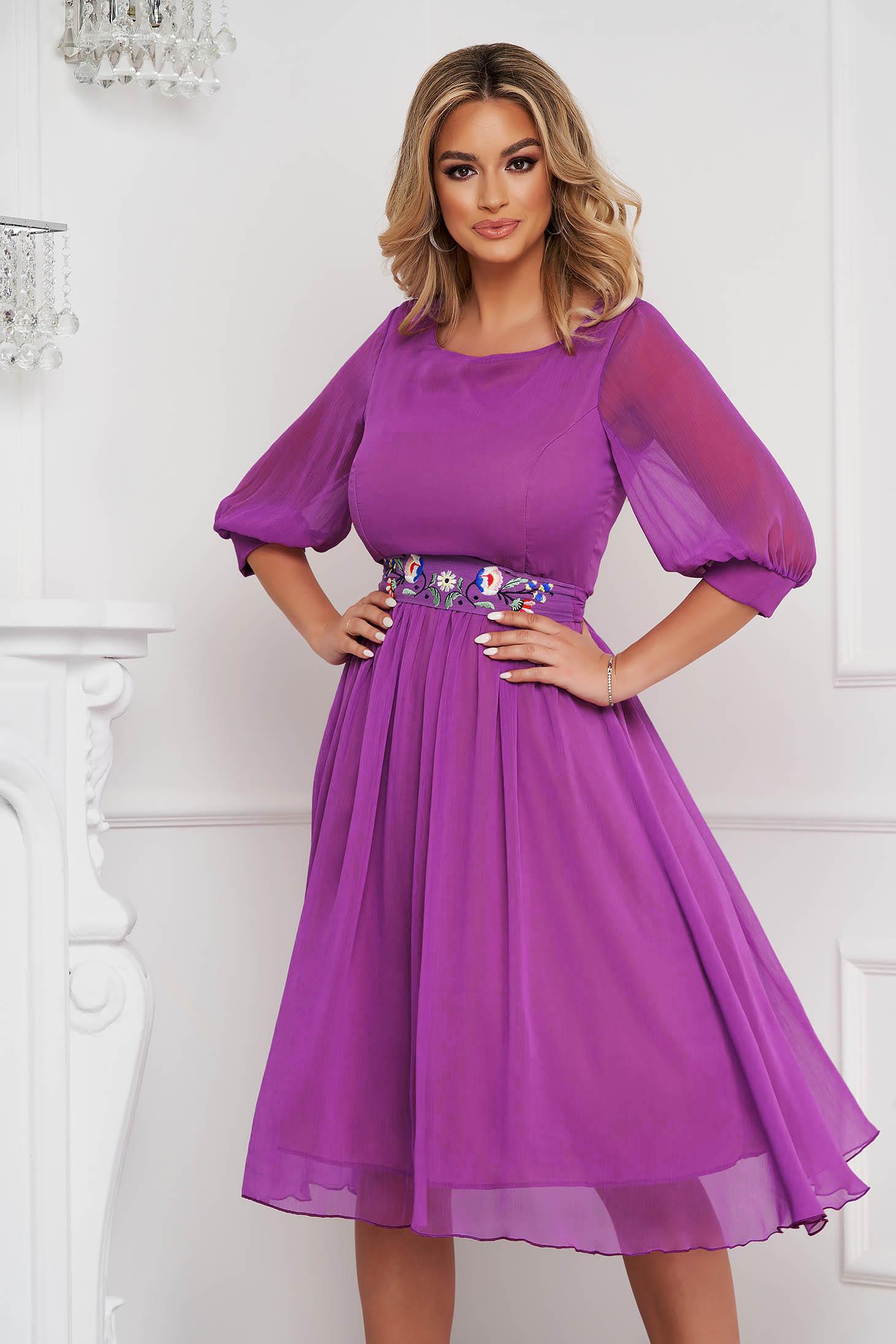 StarShinerS purple dress occasional midi cloche airy fabric