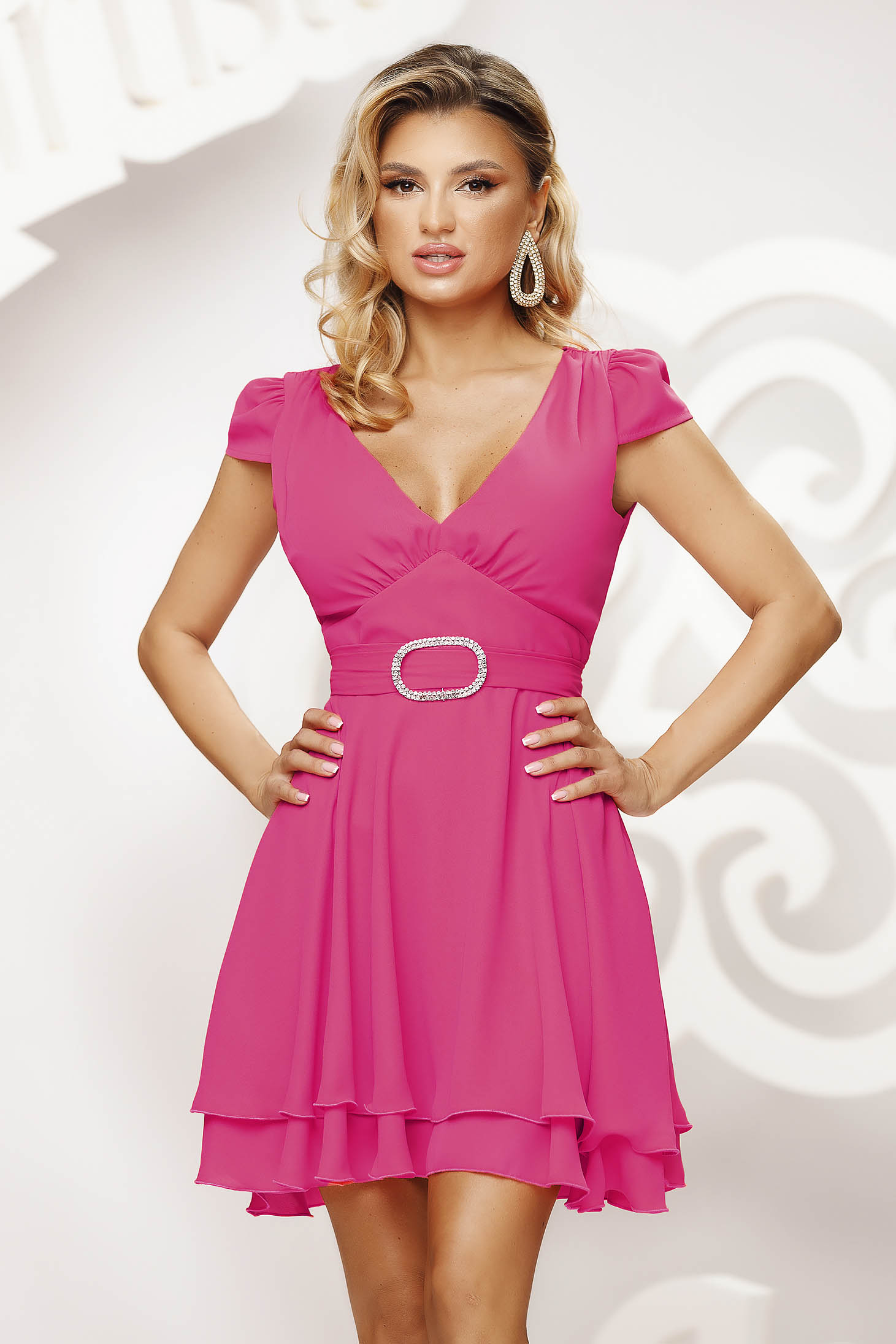 Pink dress short cut occasional cloche airy fabric short sleeves