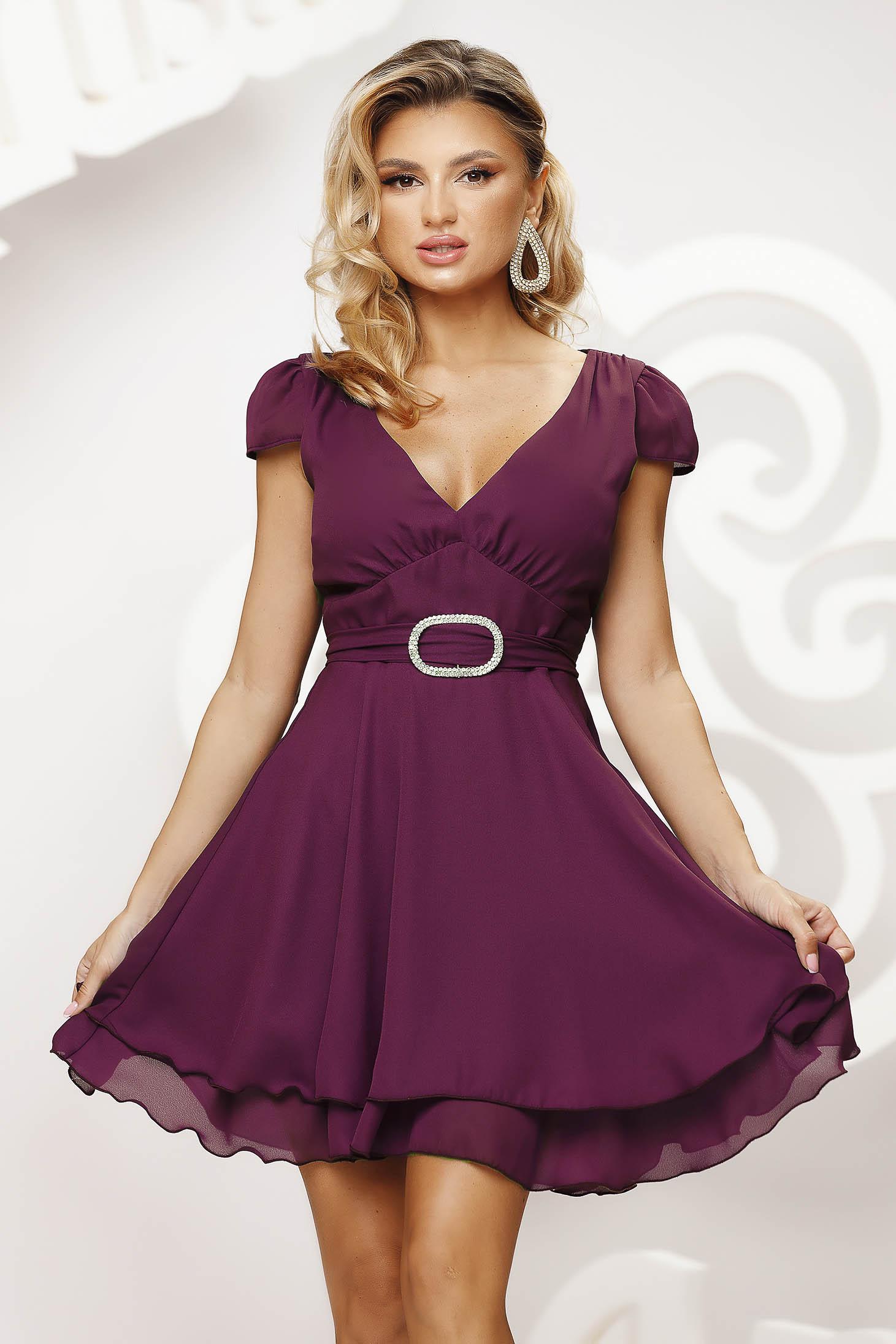 Raspberry dress short cut occasional cloche airy fabric short sleeves