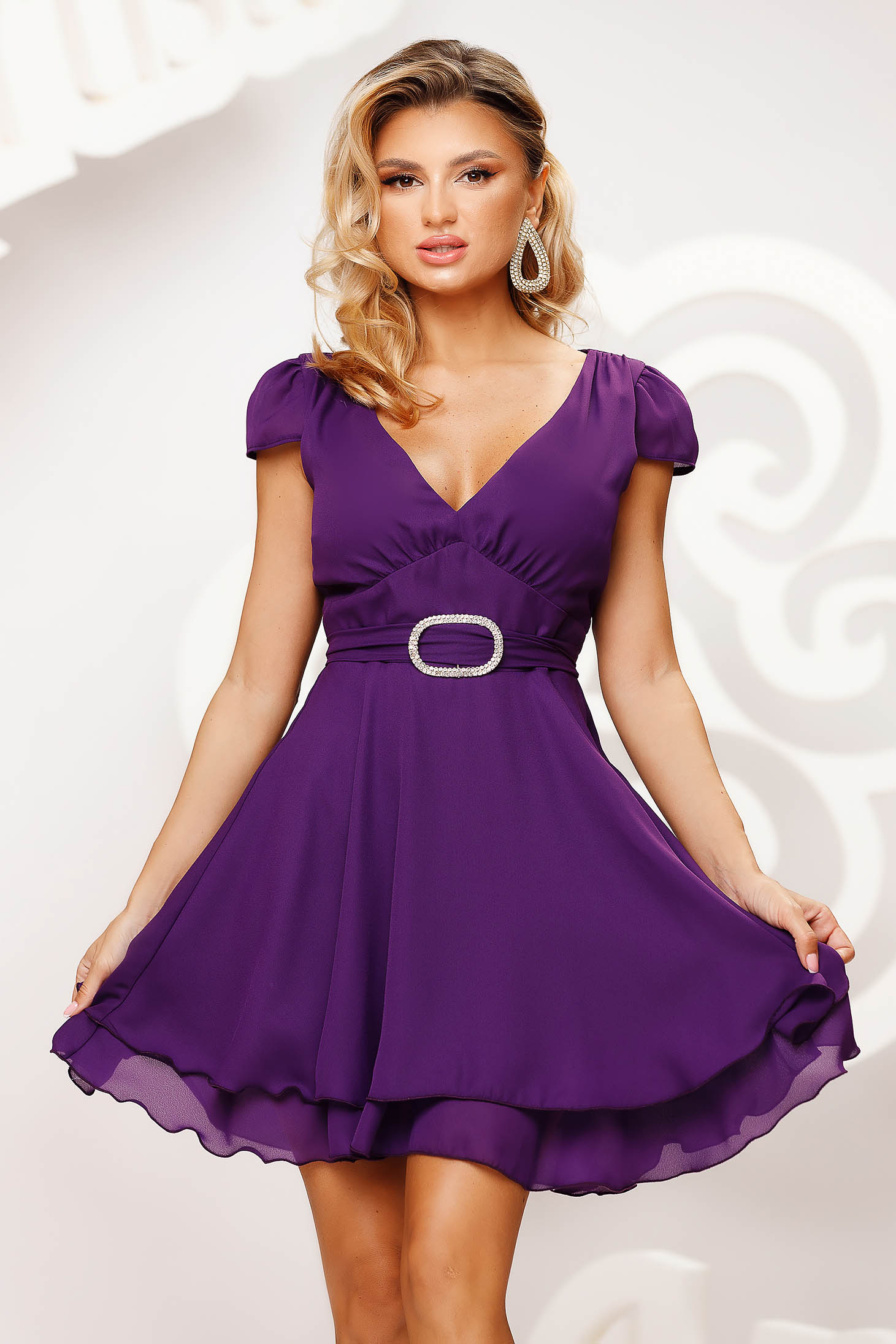 Purple dress short cut occasional cloche airy fabric short sleeves