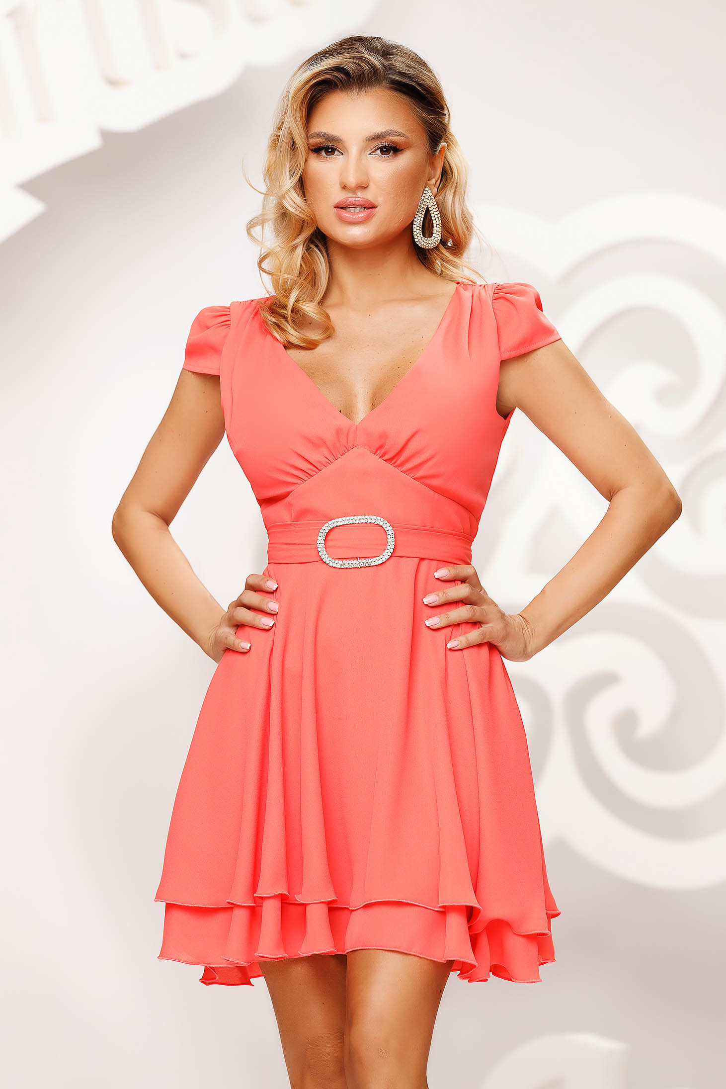 Coral dress short cut occasional cloche airy fabric short sleeves