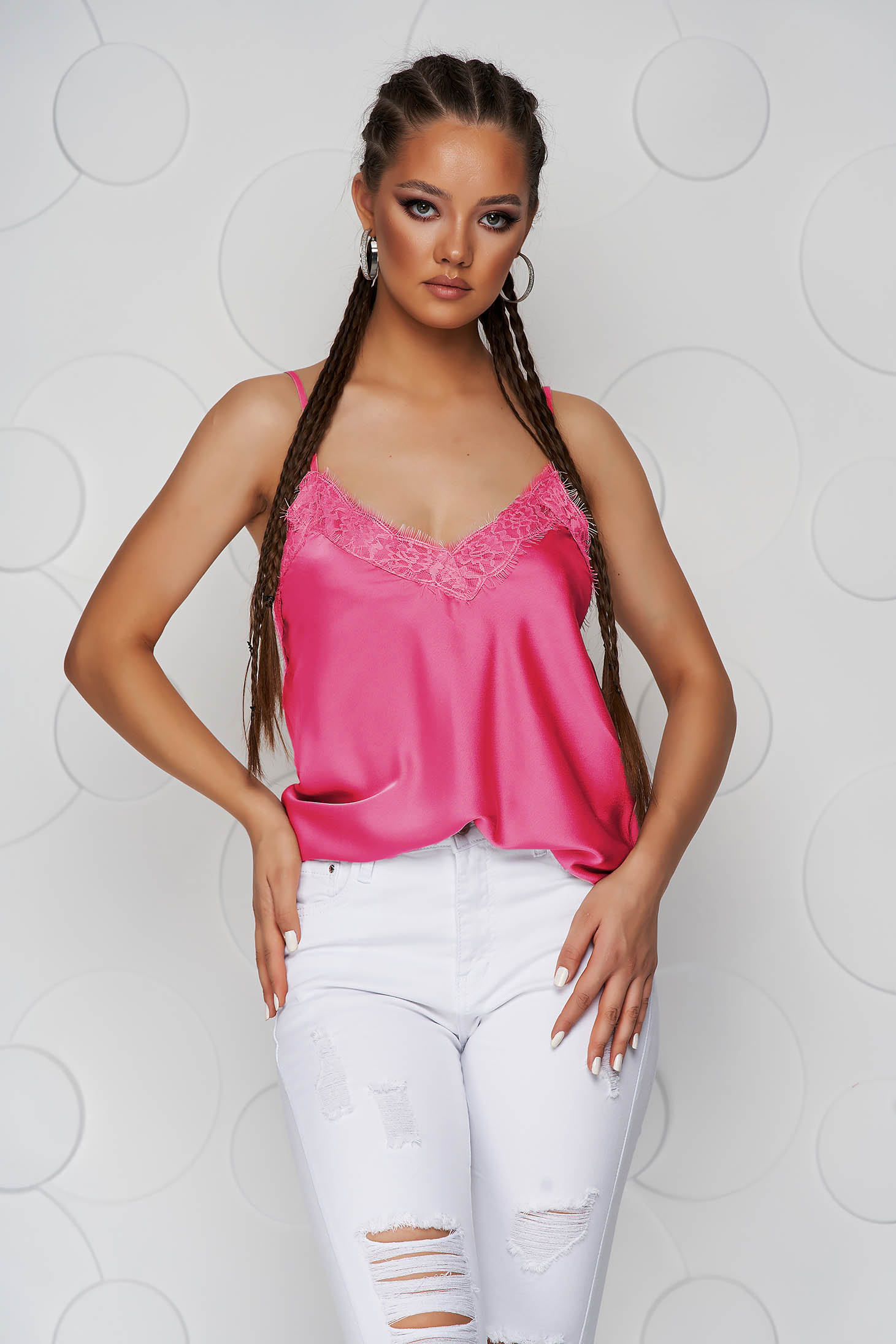 Fuchsia top shirt loose fit from satin with straps with lace details